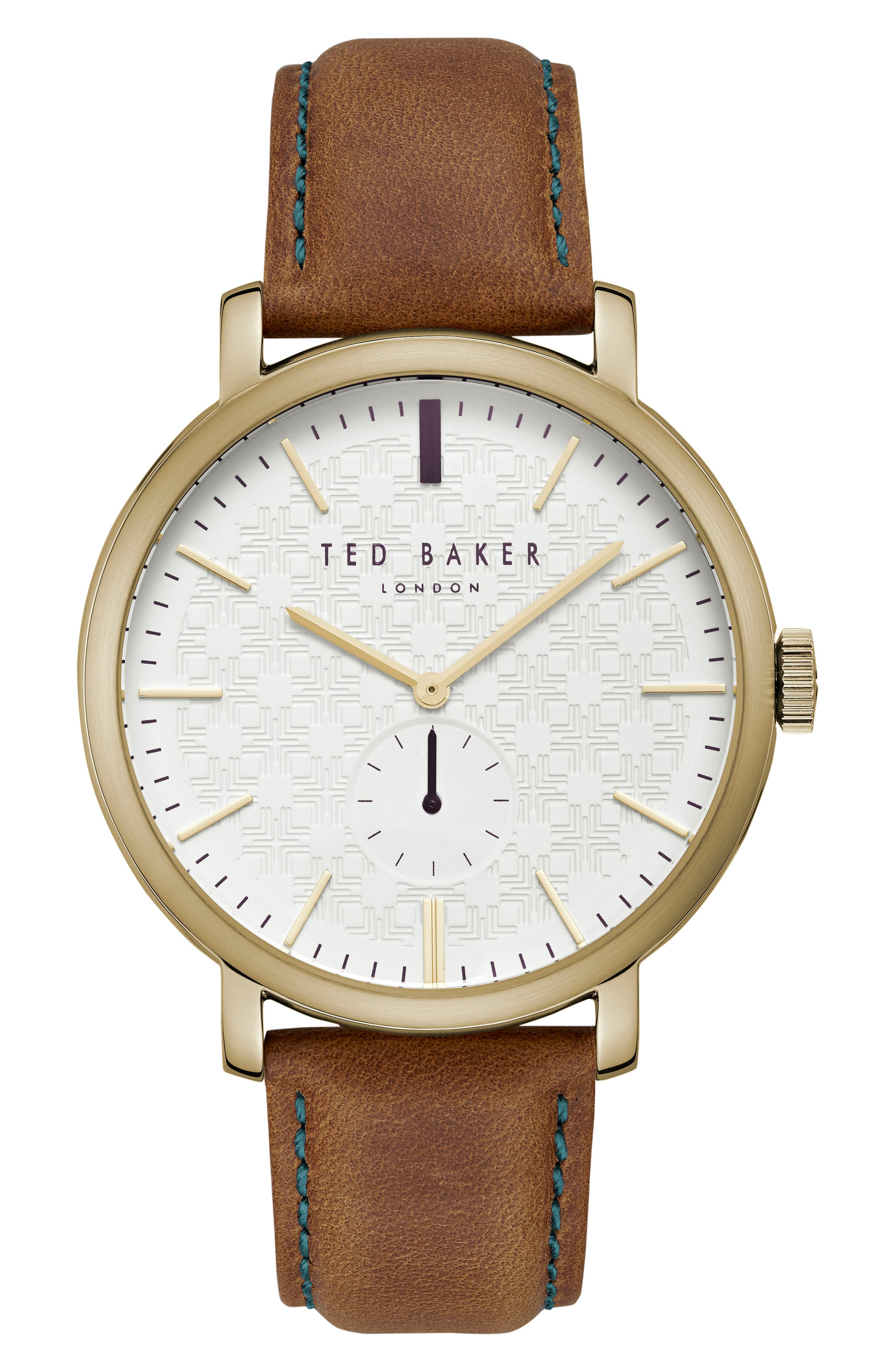 Trent Leather Strap Watch, 44mm,                             Main thumbnail 1, color,                             White/ Light Brown