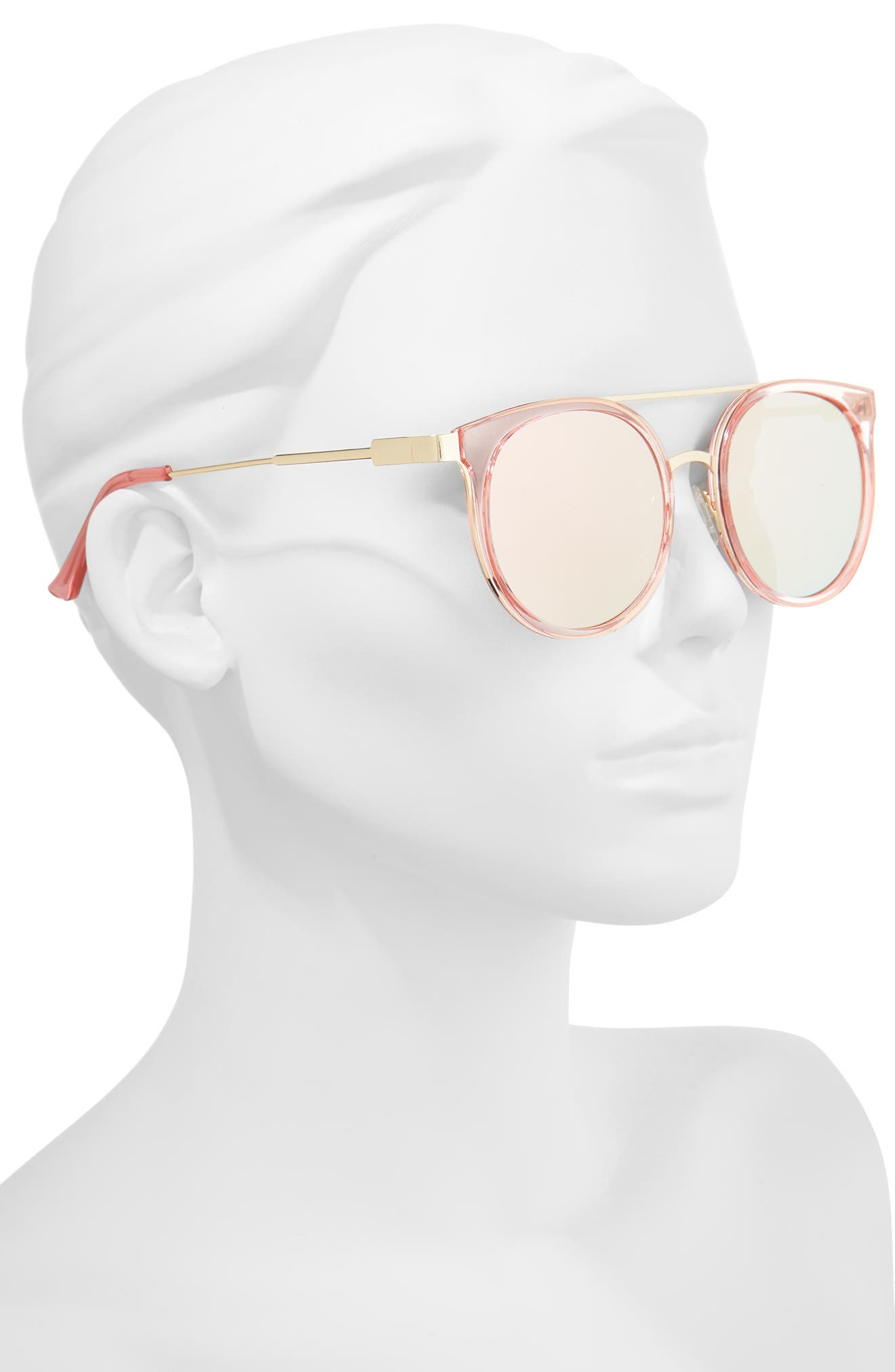 52mm Mirror Lens Round Sunglasses,                             Alternate thumbnail 2, color,                             Gold/ Pink