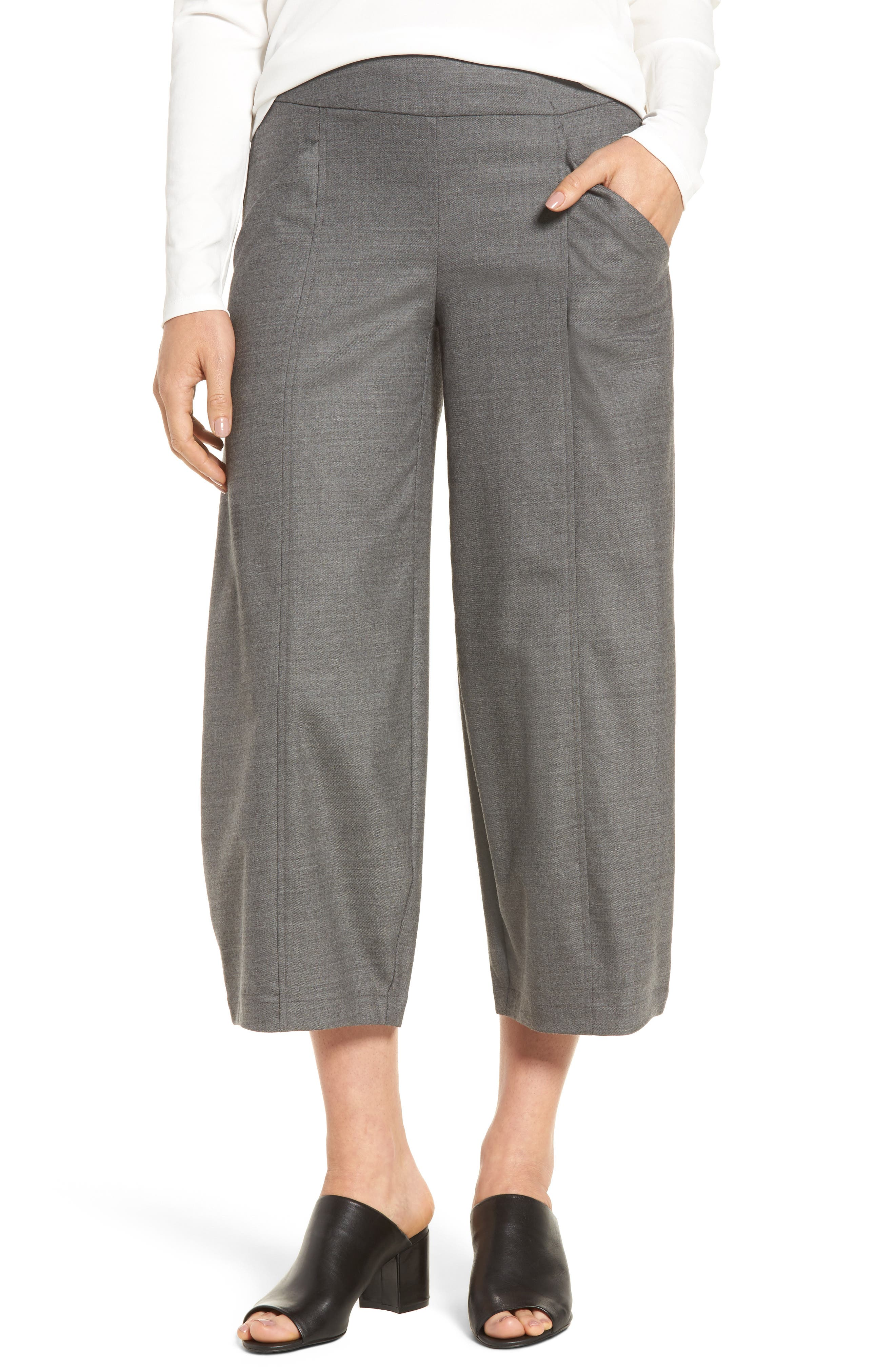 Main Image - Eileen Fisher Crop Stretch Wool Ankle Pants