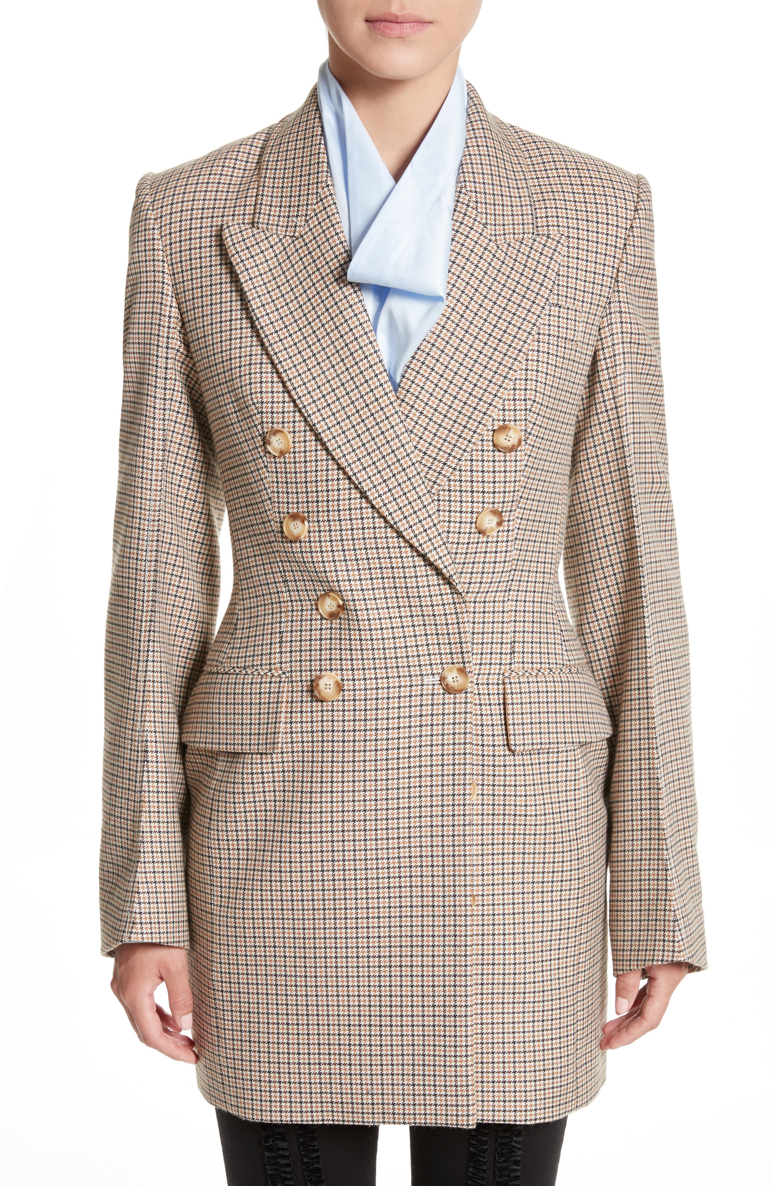 Check Wool Double Breasted Jacket,                         Main,                         color, Havana