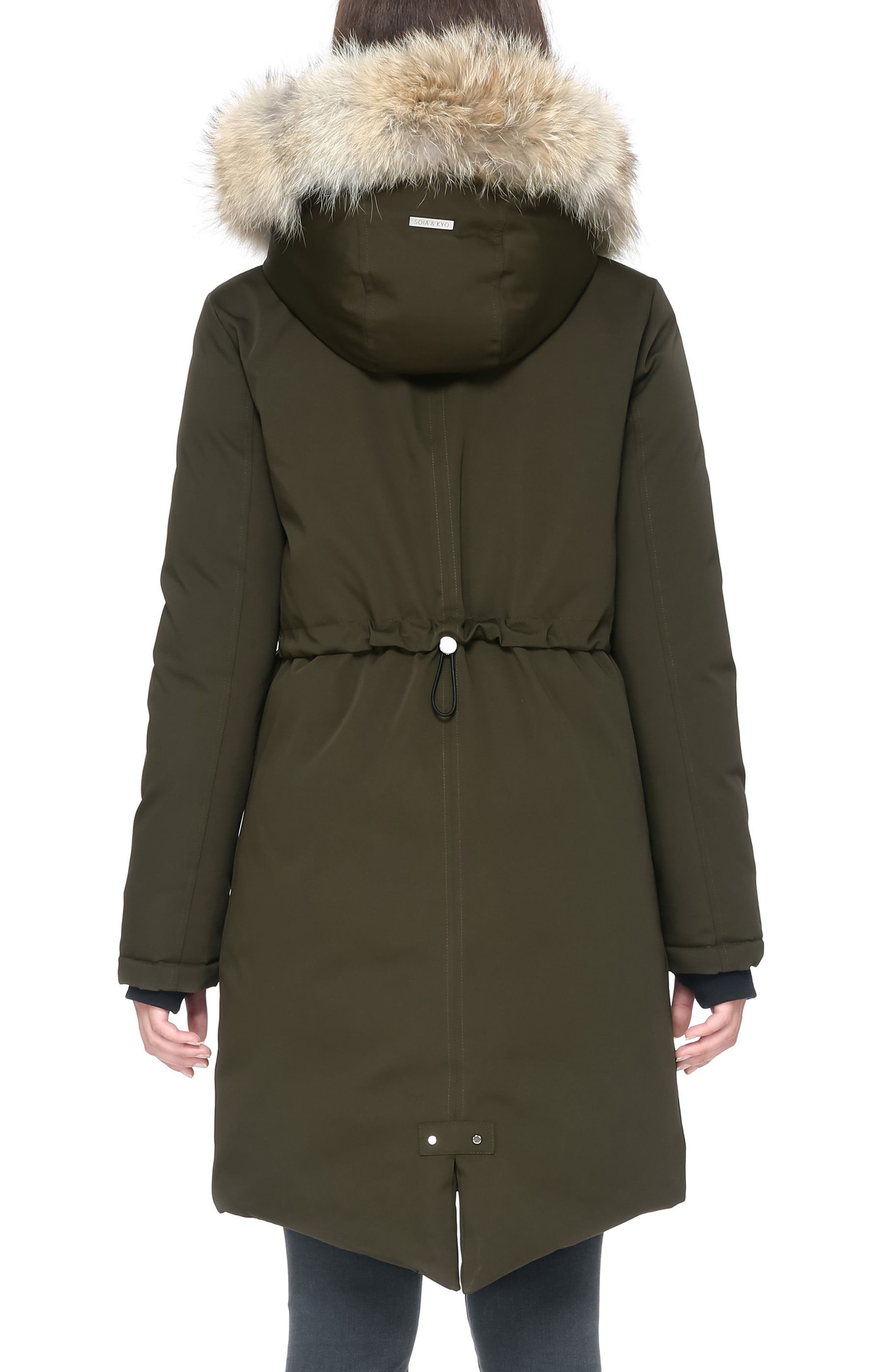 Genuine Coyote Fur Hooded Down Parka,                             Alternate thumbnail 3, color,                             Army