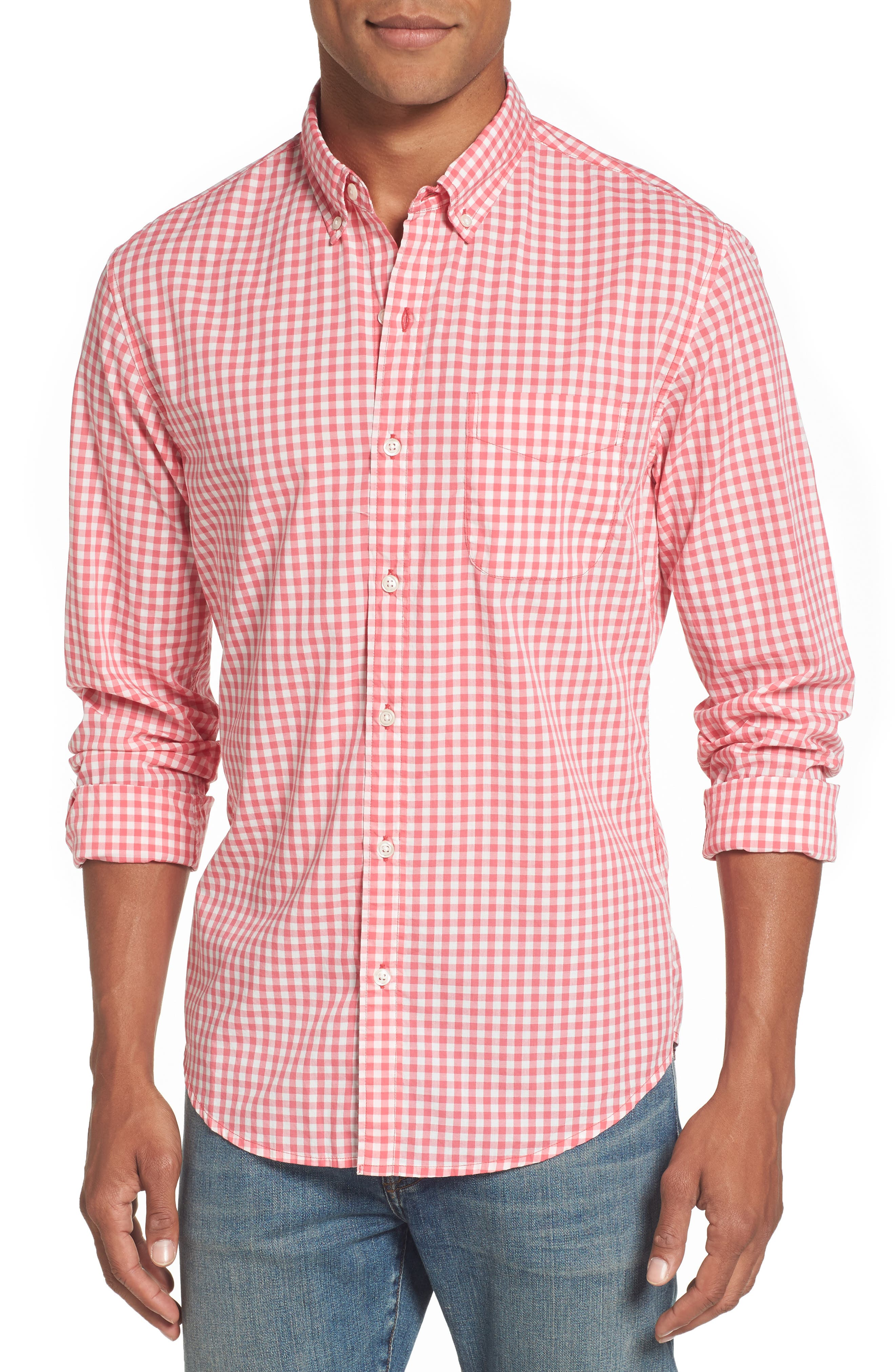 Slim Fit Summerweight Check Sport Shirt,                             Main thumbnail 1, color,                             Coral Ribbon Gingham