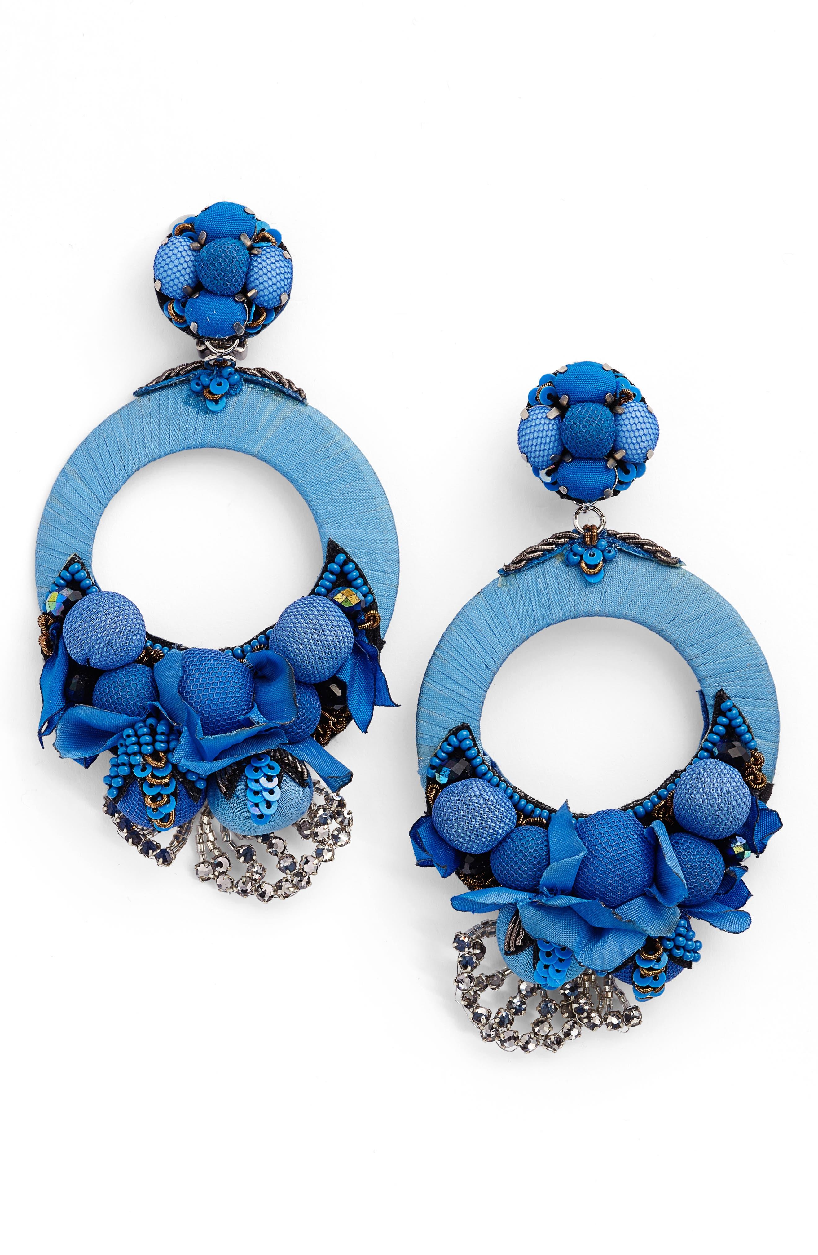 Posie Large Drop Earrings,                         Main,                         color, Blue