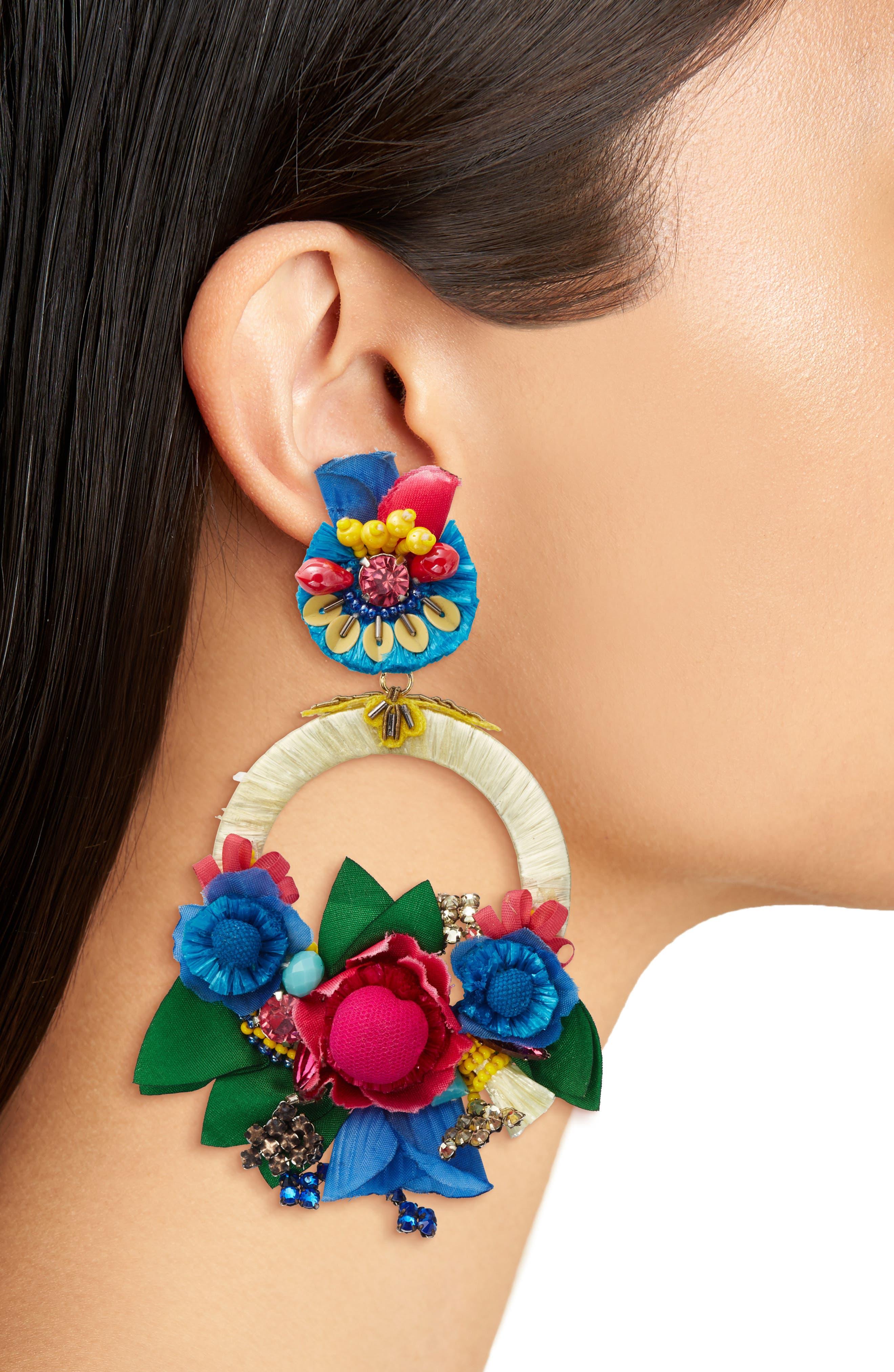 Eden Earrings,                             Alternate thumbnail 2, color,                             Red / Blue / Gold