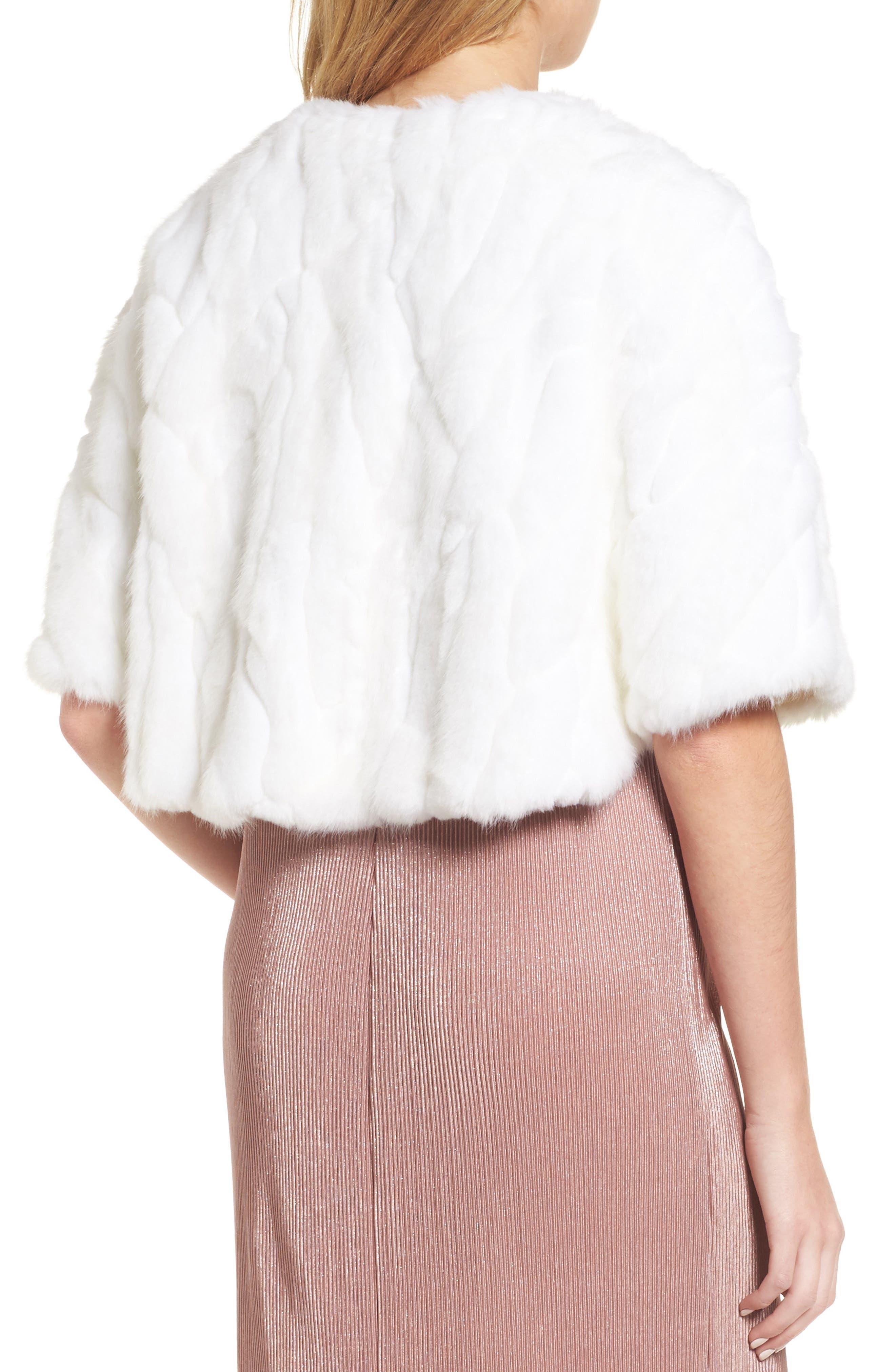 Faux Fur Capelet,                             Alternate thumbnail 2, color,                             Ivory