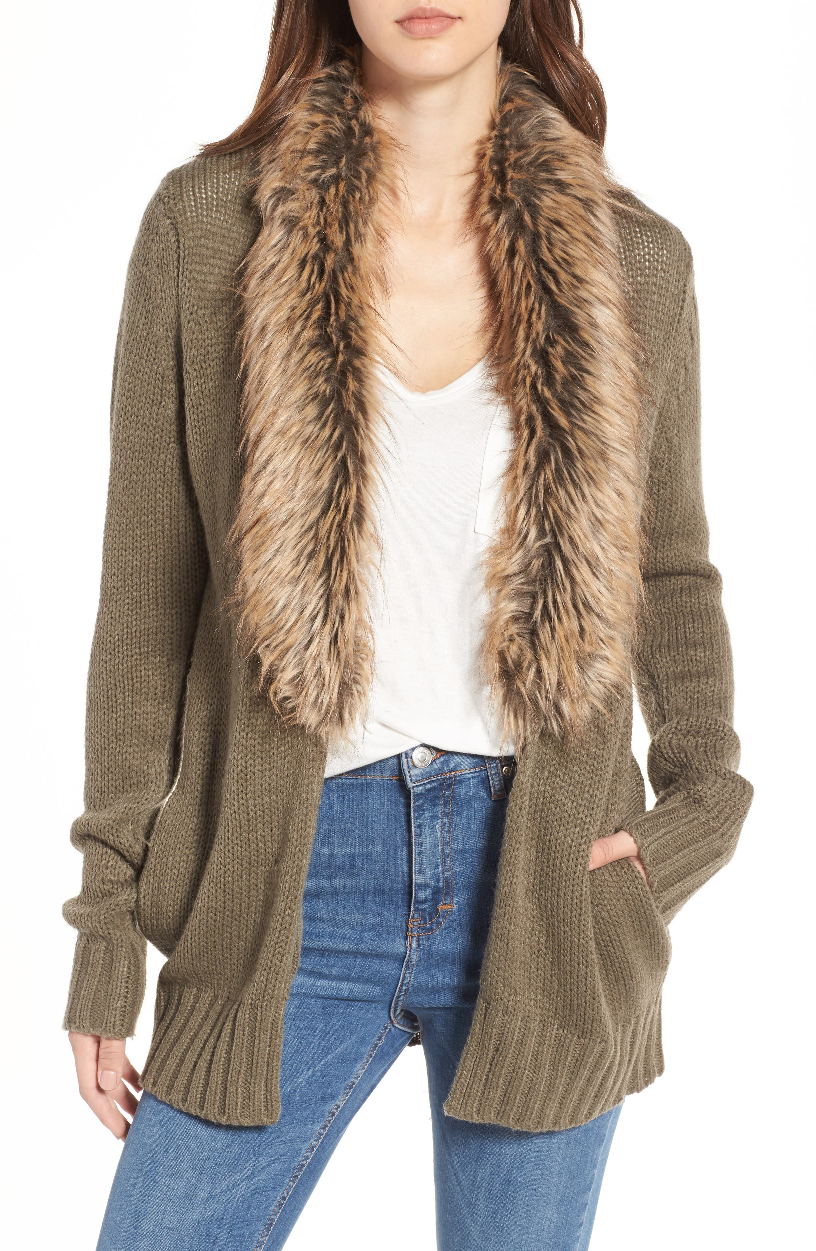 Kenn Faux Fur Trim Cardigan,                         Main,                         color, Moss Knit