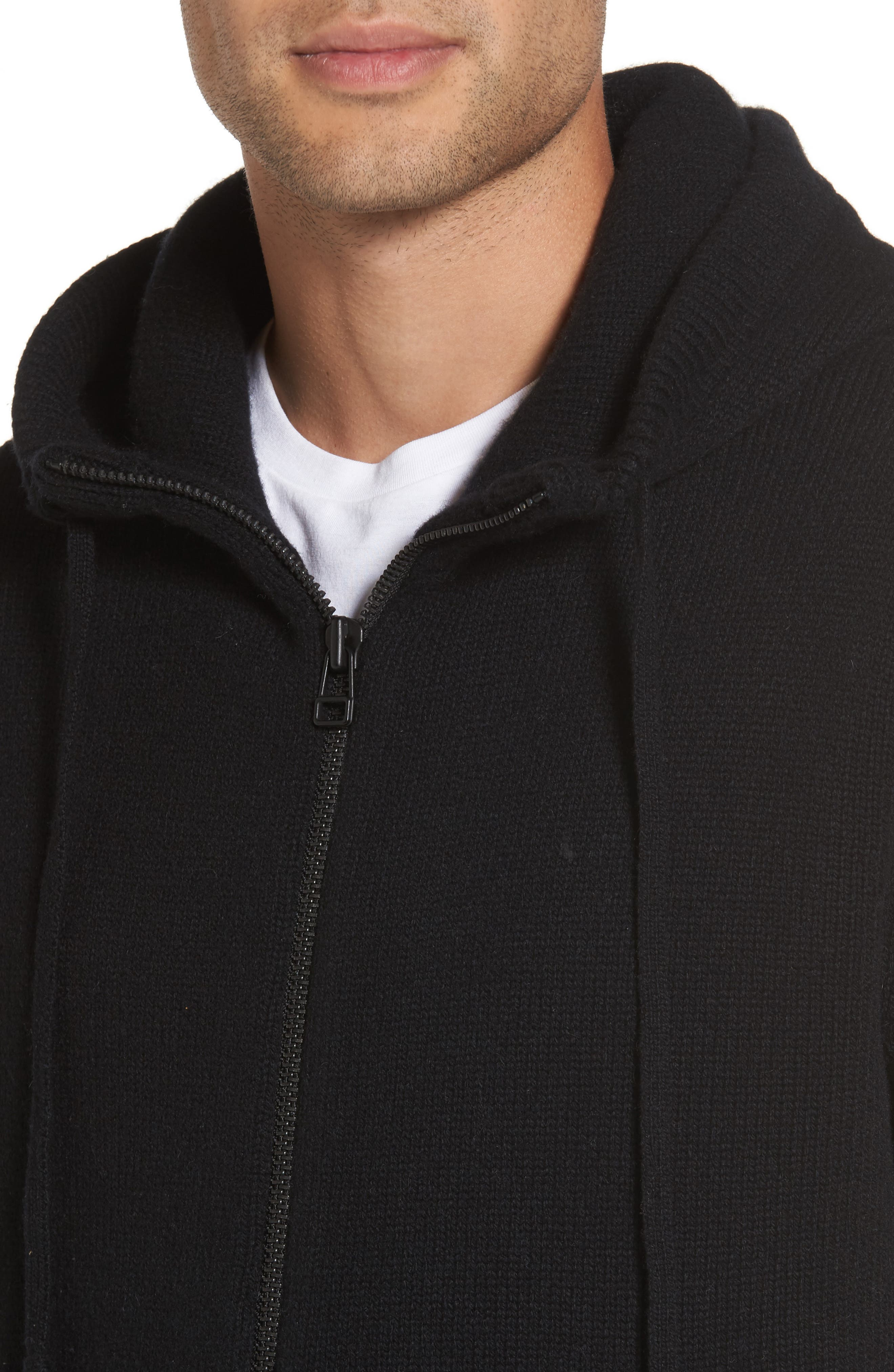 Front Zip Wool & Cashmere Hoodie,                             Alternate thumbnail 4, color,                             Black