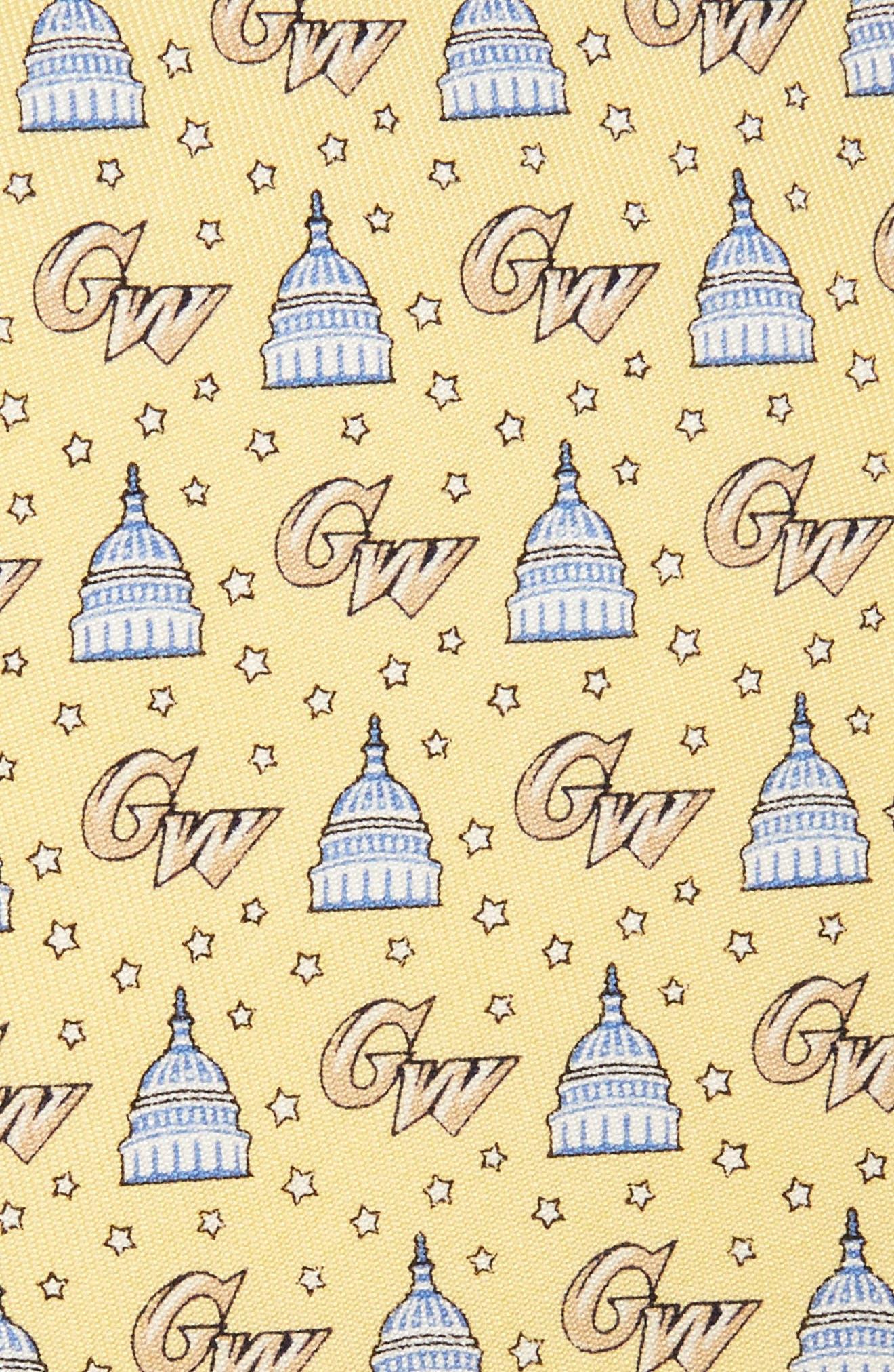 George Washington University Silk Tie,                             Alternate thumbnail 2, color,                             Yellow