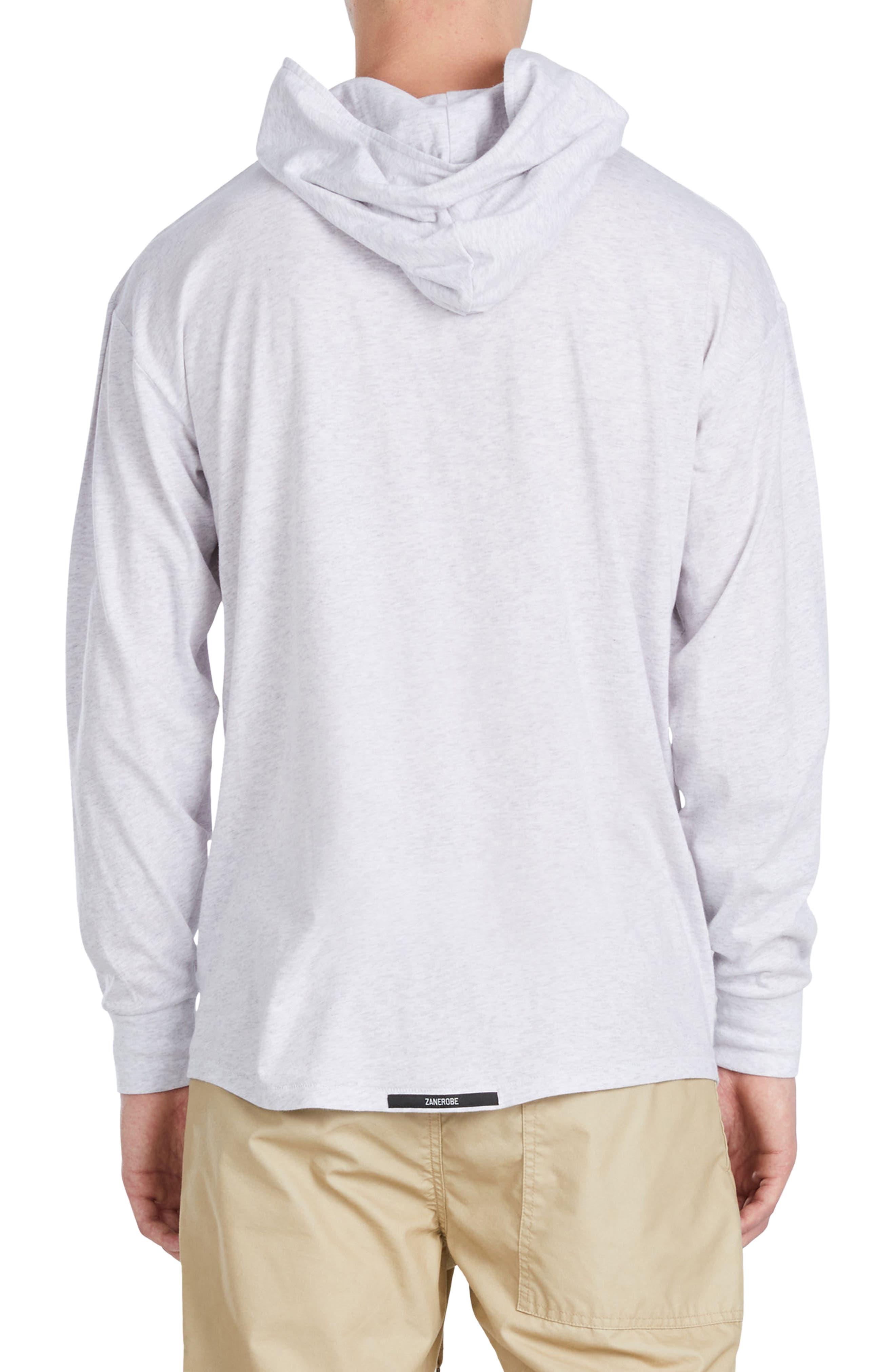 Rugger Long Sleeve Hooded T-Shirt,                             Alternate thumbnail 2, color,                             Bleach Marled