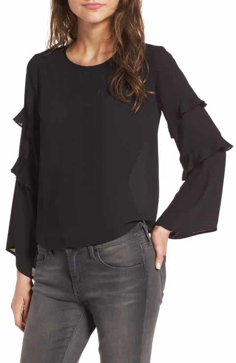 Lush Ruffle Bell Sleeve Blouse - Shirts & Blouses Work & Business Casual Clothes For Women
