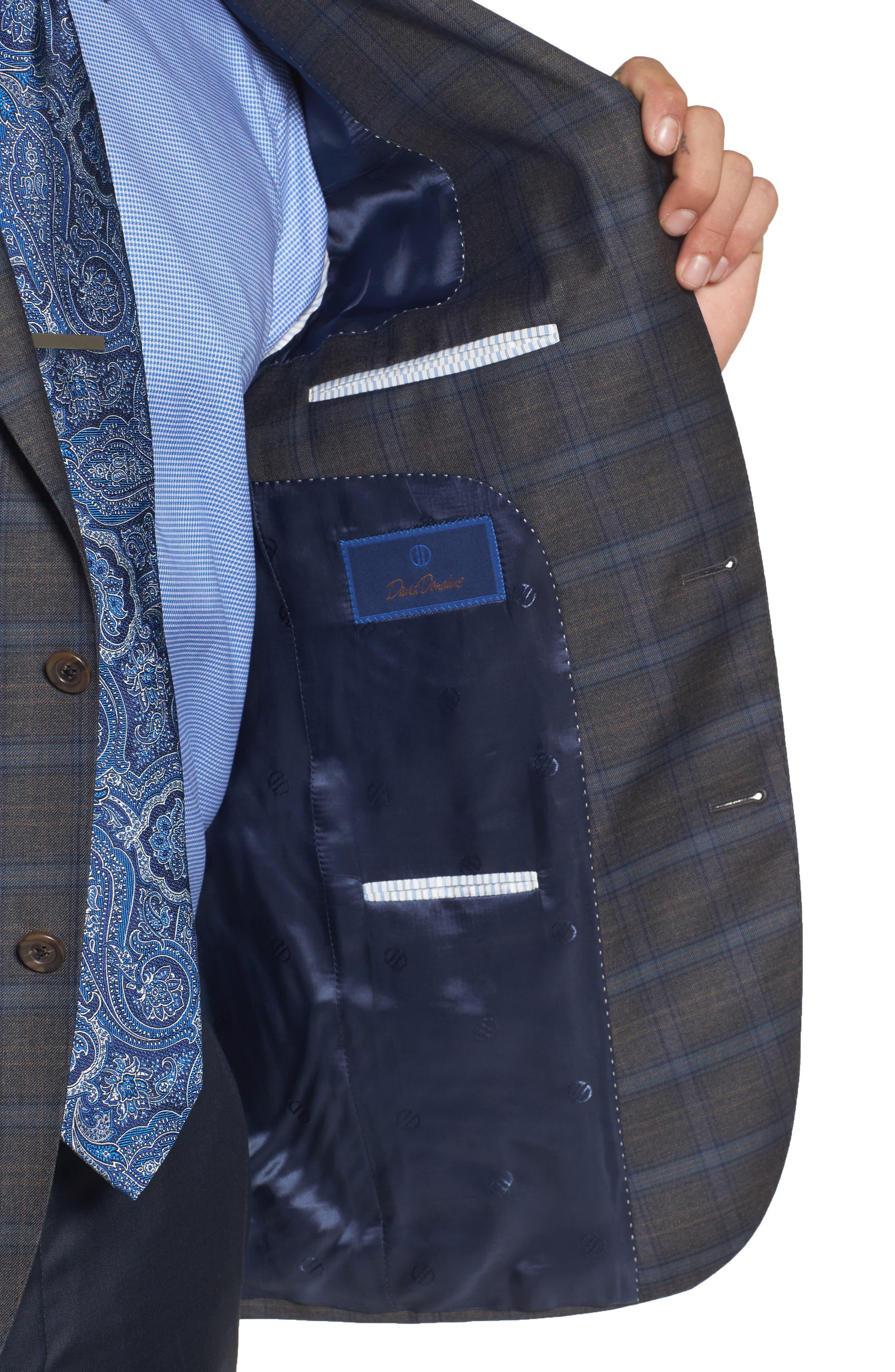 Arnold Classic Fit Plaid Wool Sport Coat,                             Alternate thumbnail 4, color,                             Grey