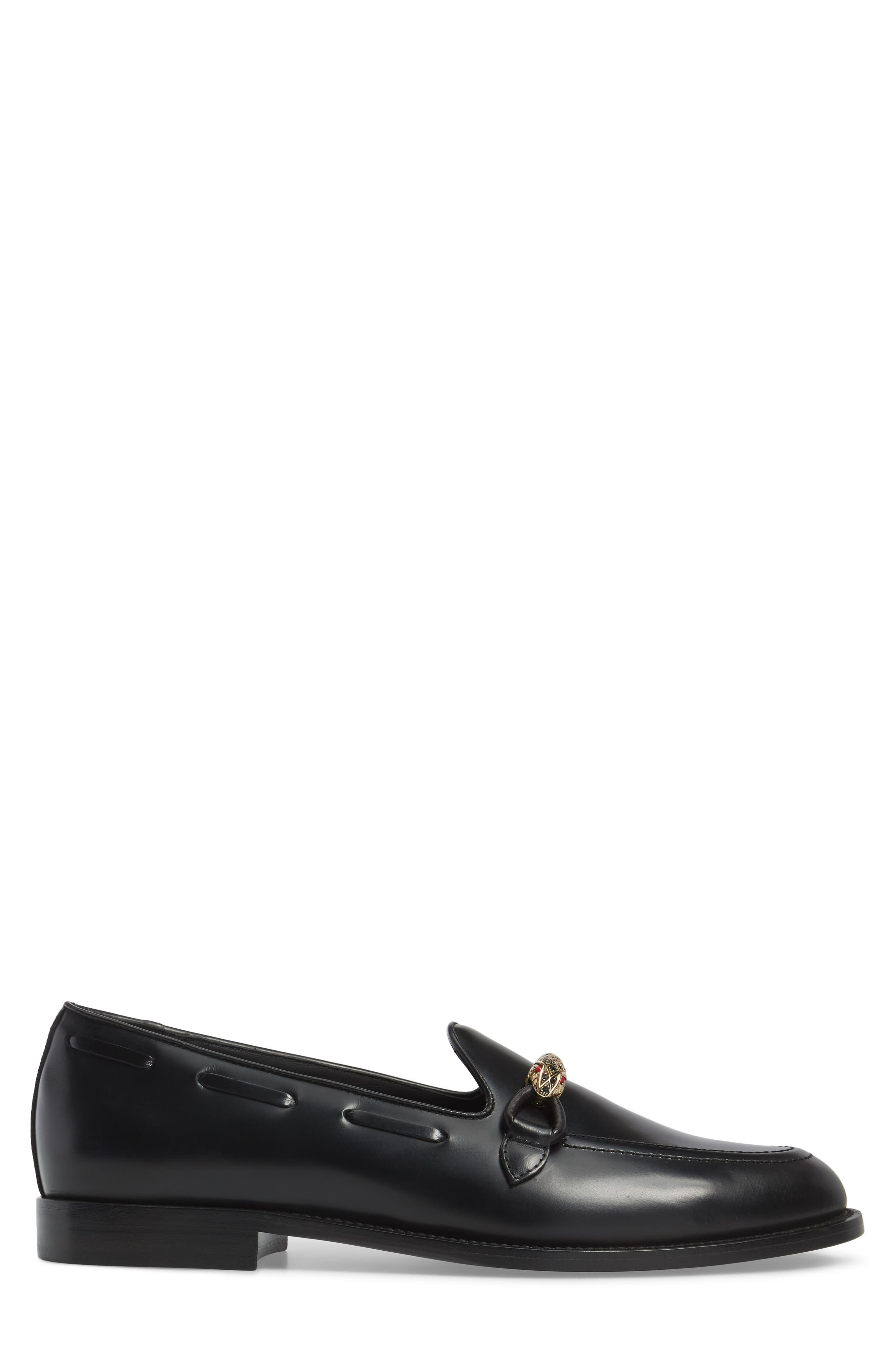 Serpent Bit Loafer,                             Alternate thumbnail 3, color,                             Nero Leather