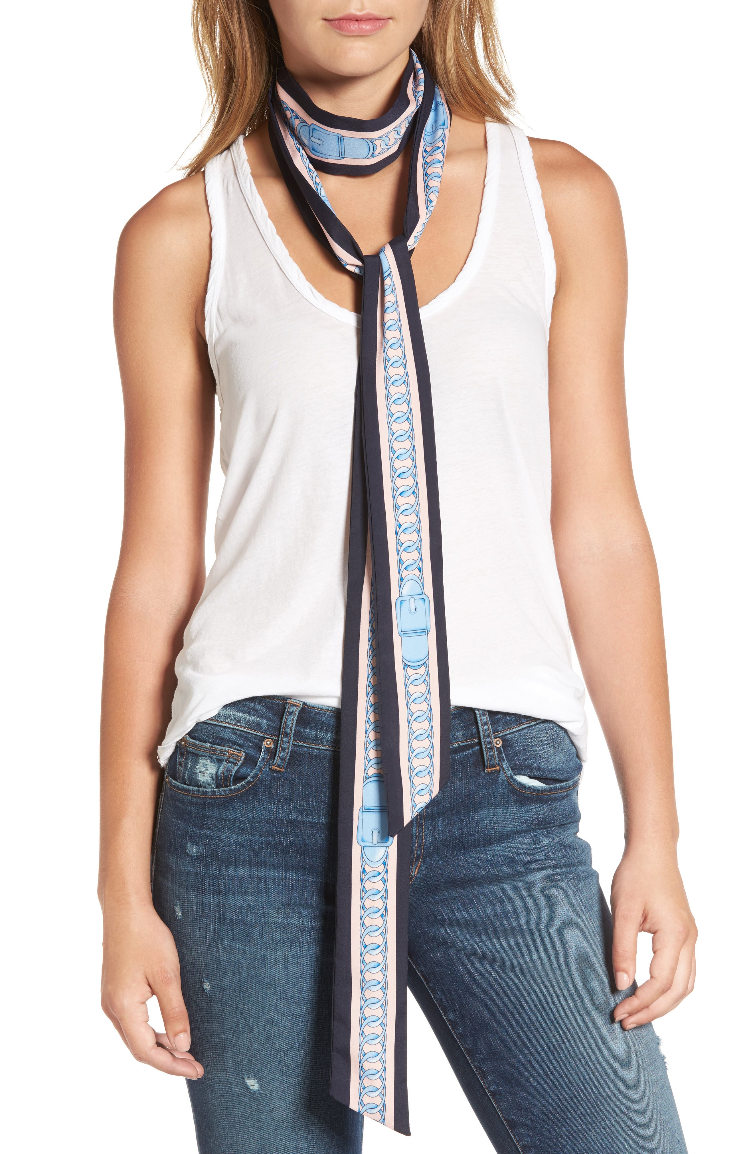 Chain Print Skinny Scarf,                         Main,                         color, Navy/ Pink