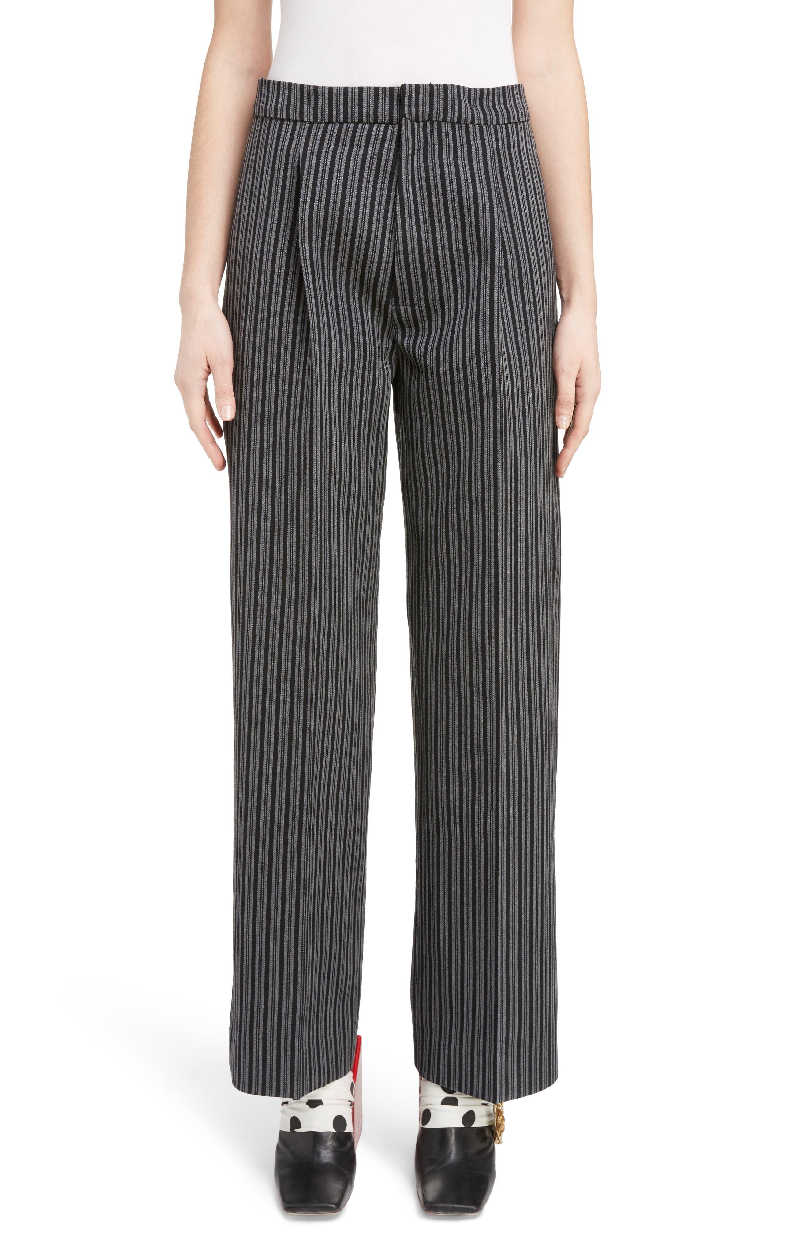 Pinstripe Pleated Wide Leg Wool Pants,                         Main,                         color, Grey Stripes