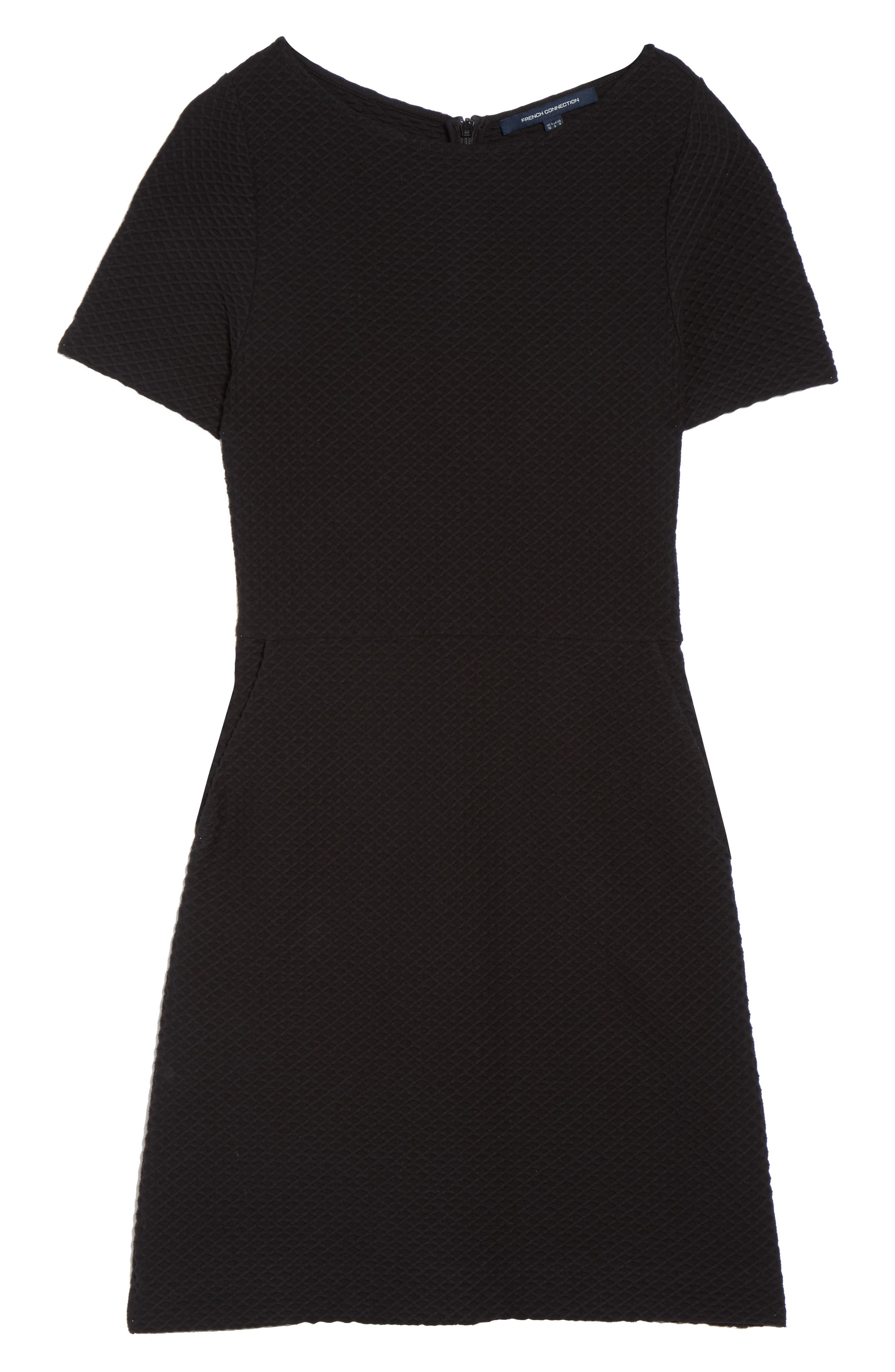 Dixie Fit & Flare Dress,                             Alternate thumbnail 6, color,                             Black