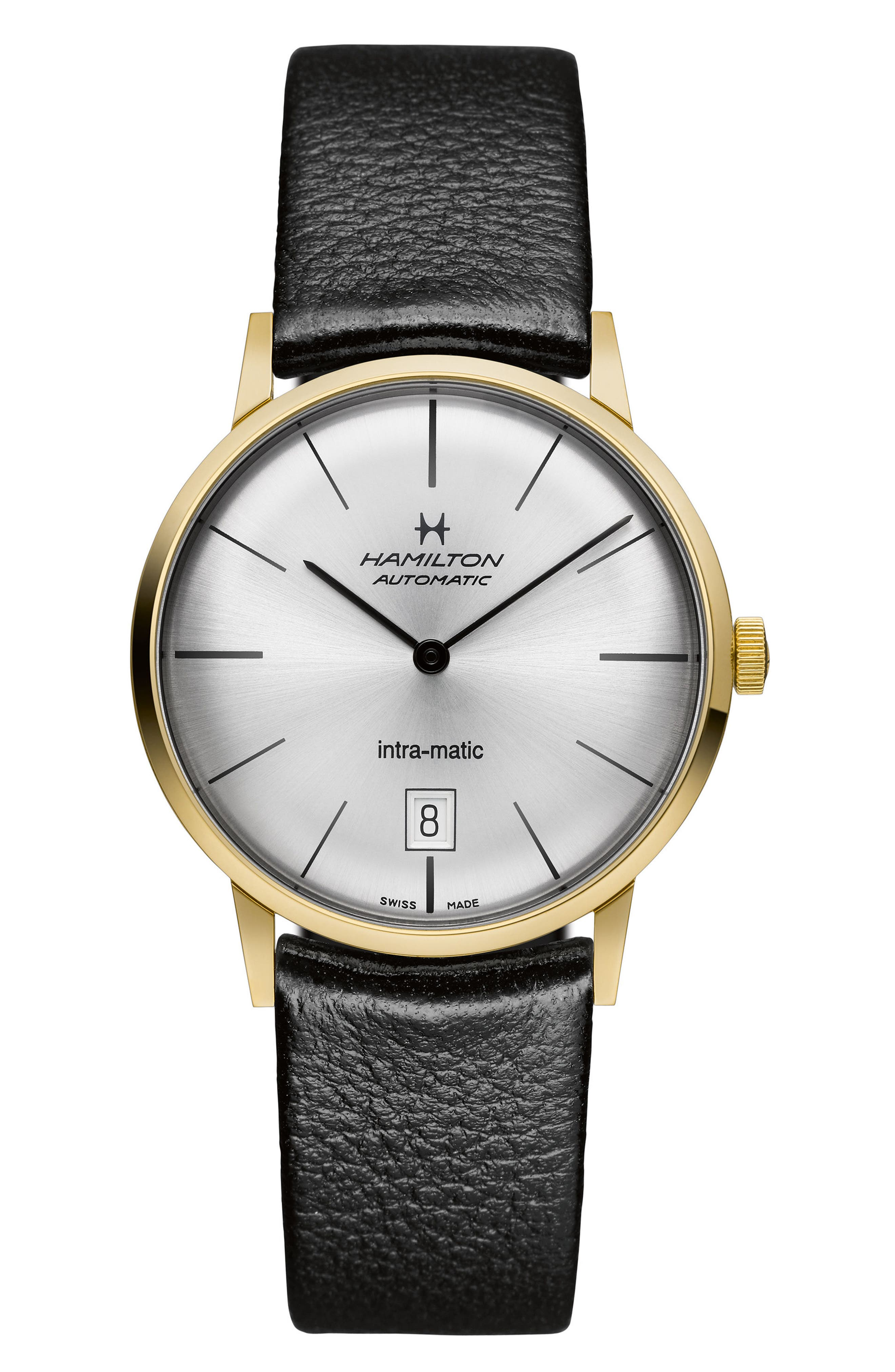 Hamilton American Classic Intra-Matic Automatic Leather Strap Watch, 38mm