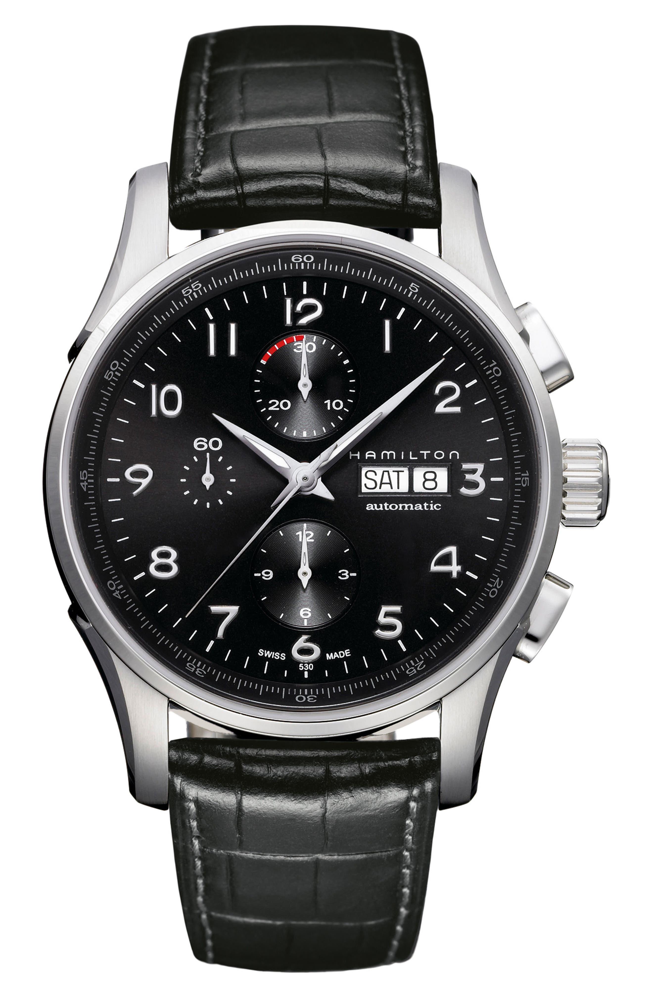 Alternate Image 1 Selected - Hamilton Jazzmaster Maestro Automatic Chronograph Leather Strap Watch, 45mm