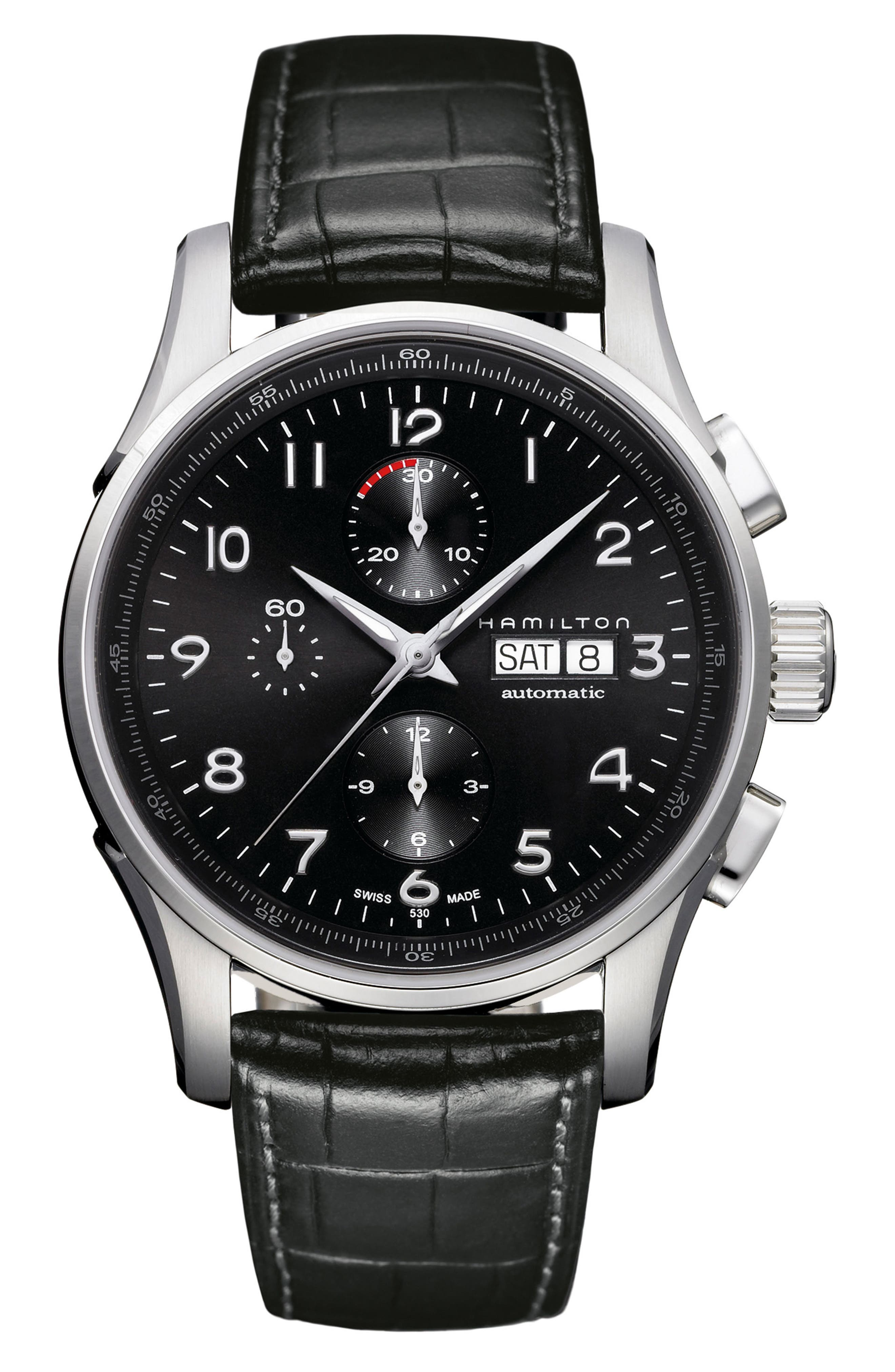 Jazzmaster Maestro Automatic Chronograph Leather Strap Watch, 45mm,                         Main,                         color, Black/ Silver