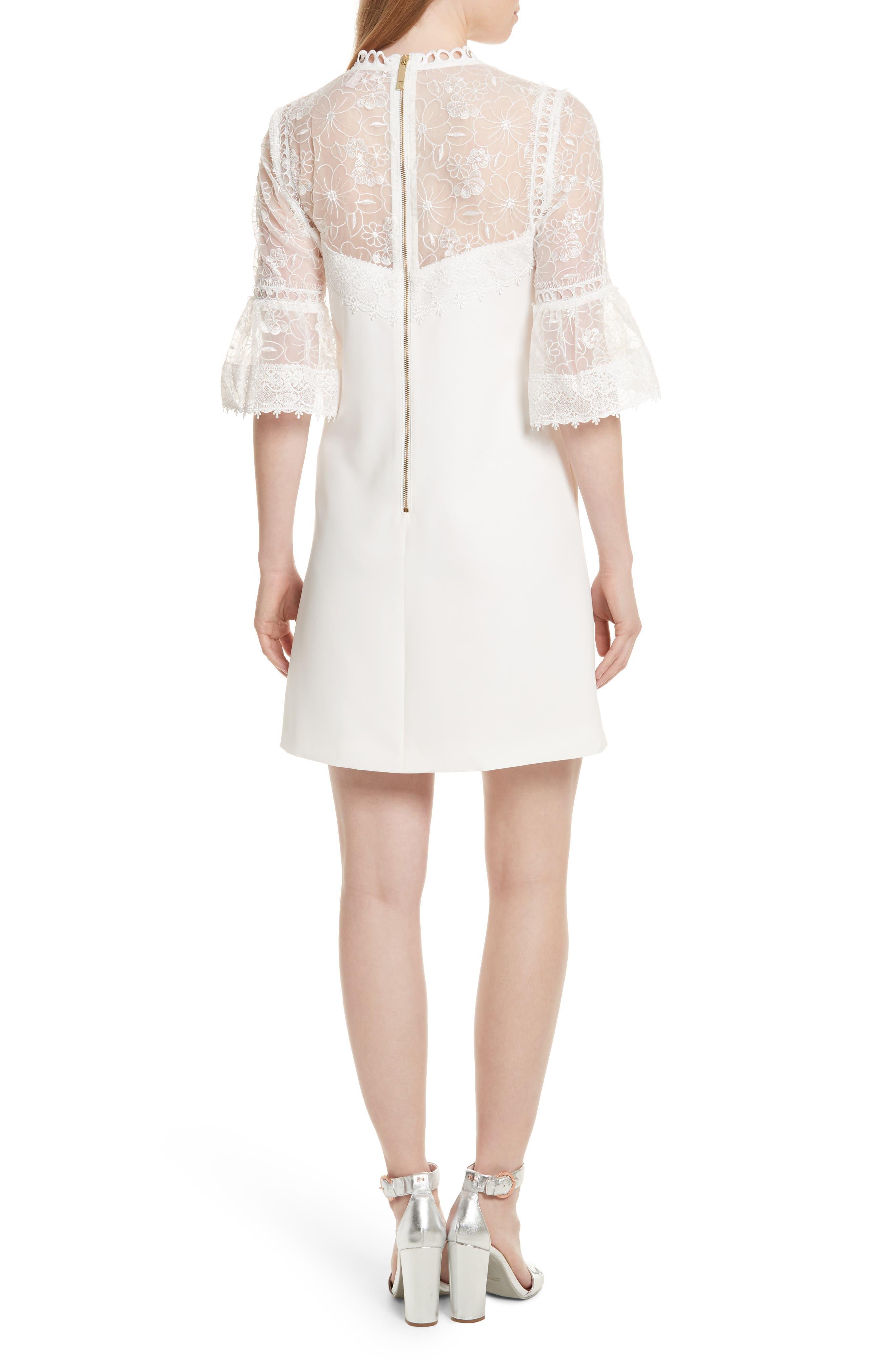 Alternate Image 3  - Ted Baker London Raechal Lace Sleeve A-Line Dress