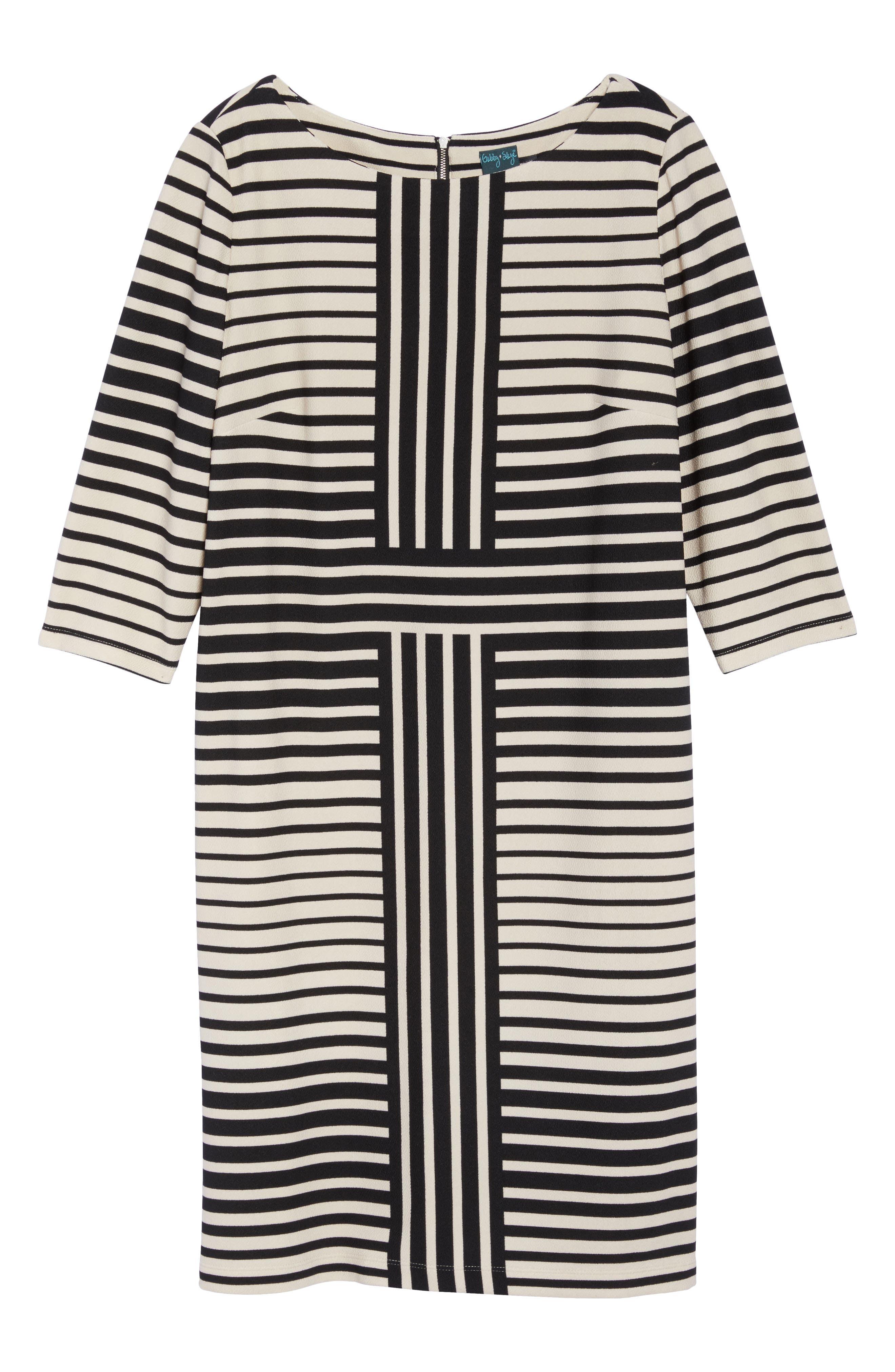 Alternate Image 6  - Gabby Skye Stripe Knit Sheath Dress (Plus Size)