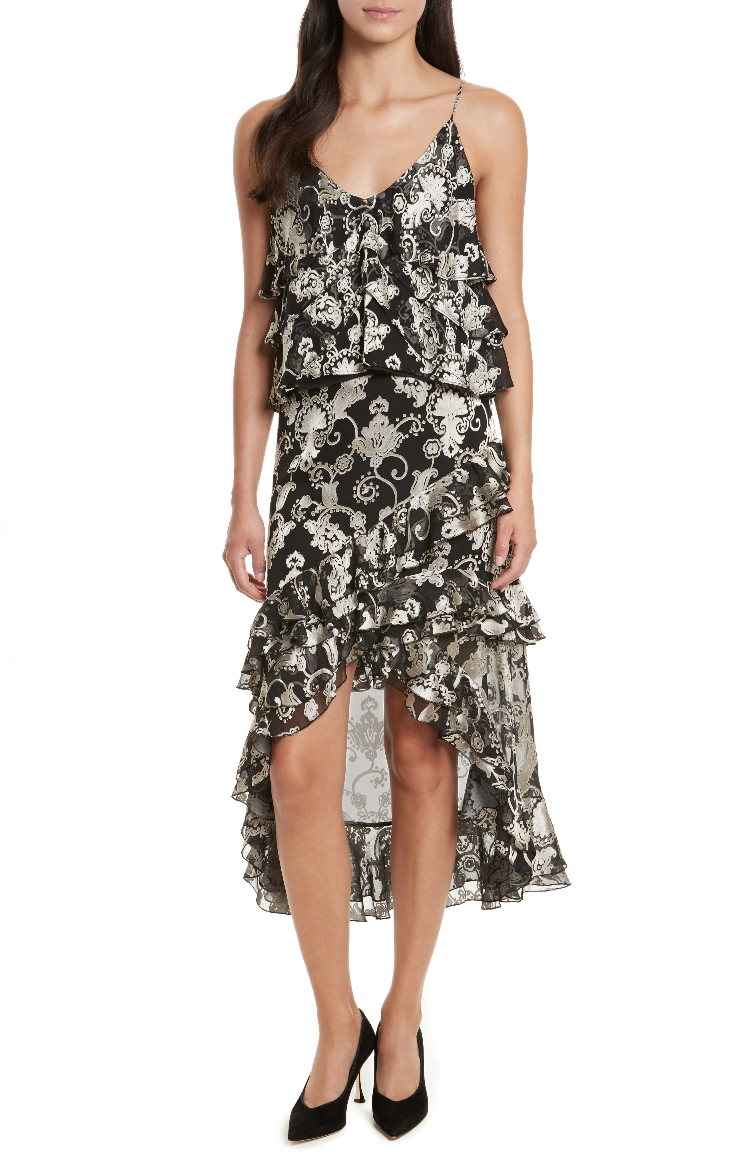 Sasha Asymmetrical Tiered Ruffle Skirt,                             Alternate thumbnail 2, color,                             Black/ White