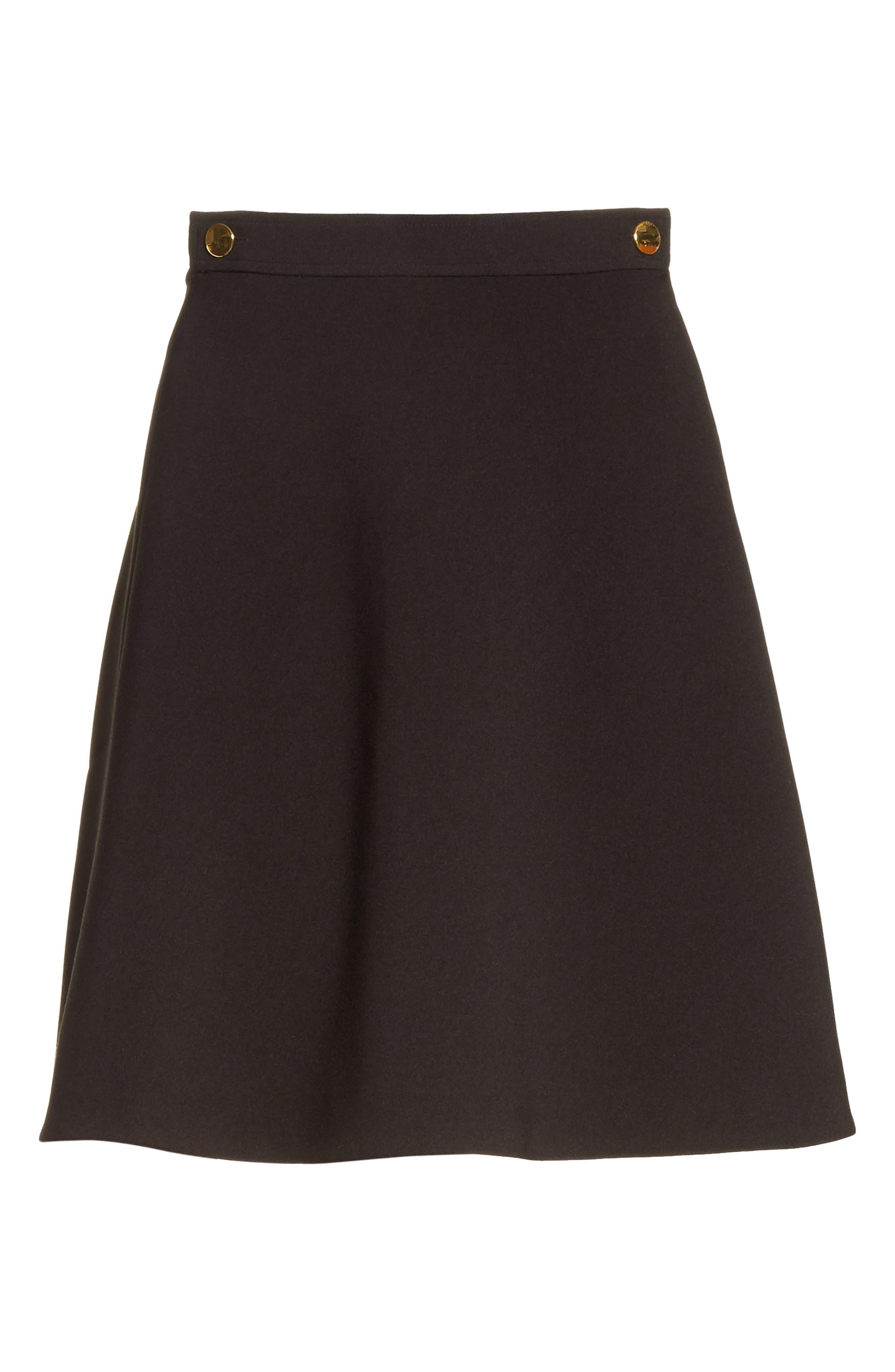 crepe military skirt,                             Alternate thumbnail 6, color,                             Black
