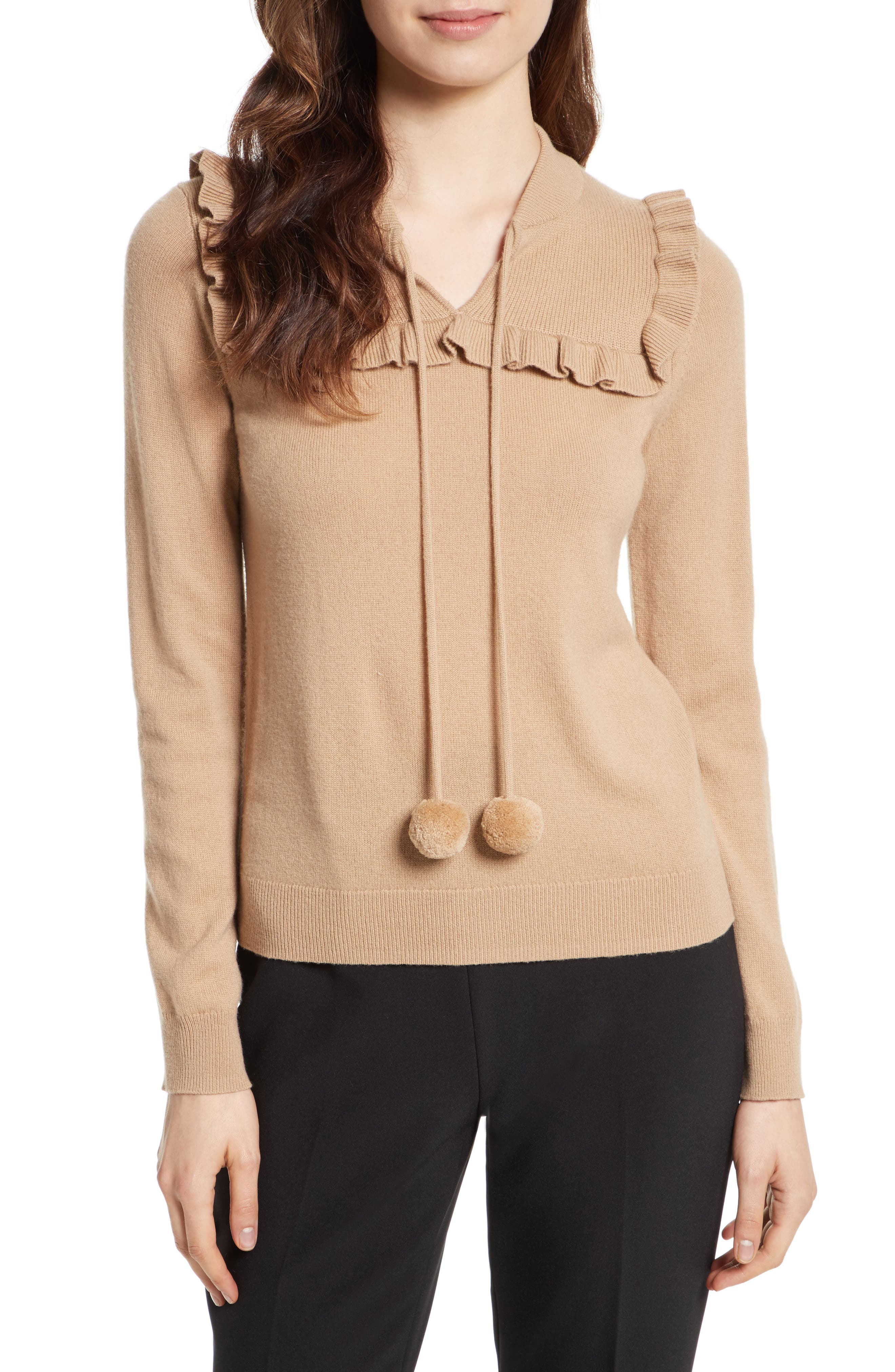 pompom wool & cashmere sweater,                         Main,                         color, Adalia Camel
