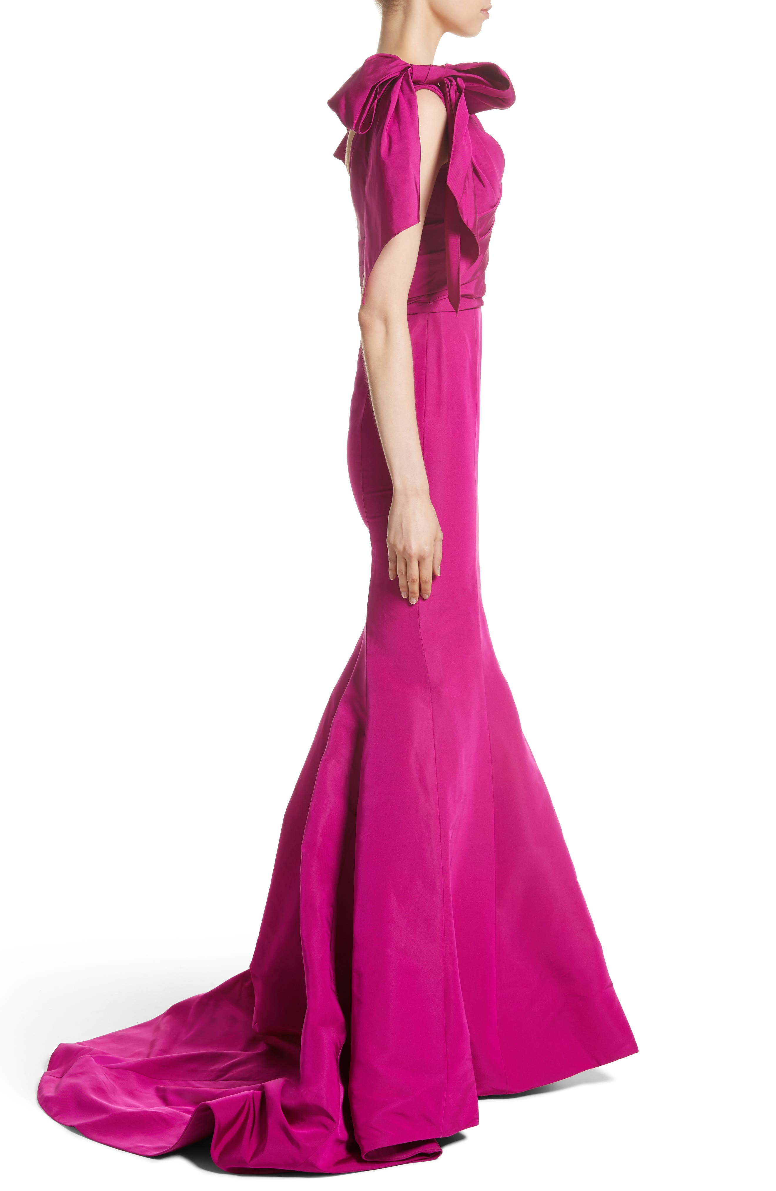 Bow Detail Faille Mermaid Gown,                             Alternate thumbnail 3, color,                             Fuchsia