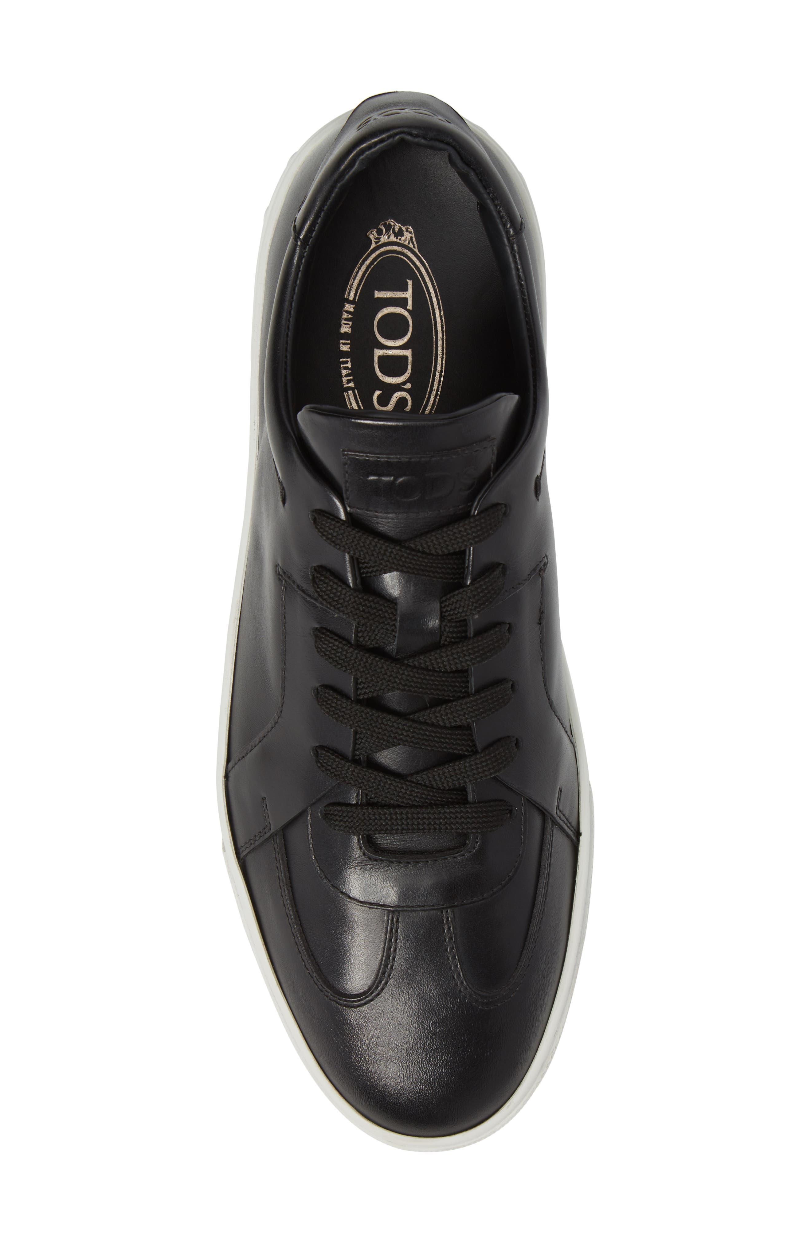 Cassetta Leather Sneaker,                             Alternate thumbnail 5, color,                             Black Leather