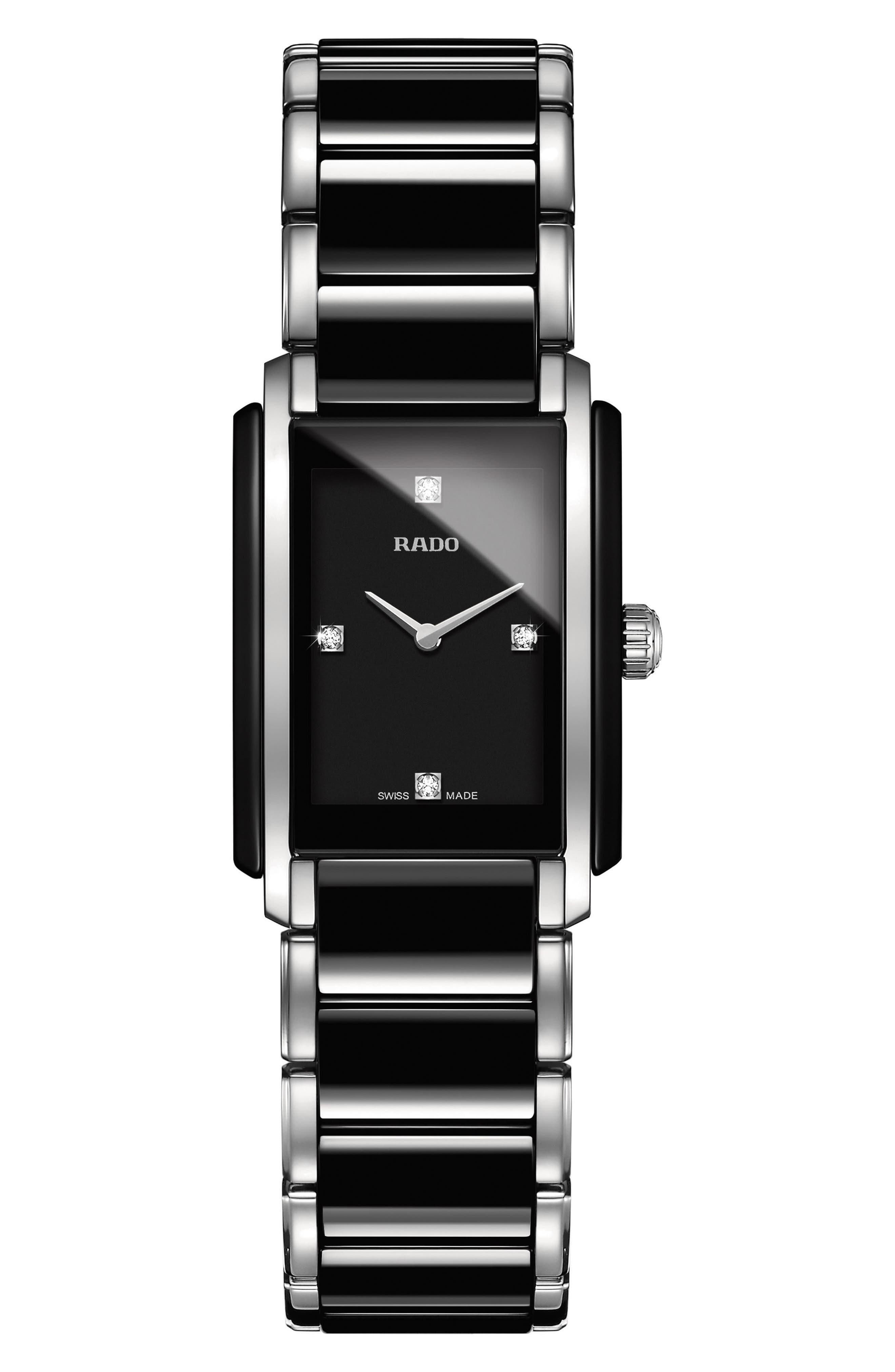 Integral Diamonds Tank Bracelet Watch, 22mm x 33mm,                             Main thumbnail 1, color,                             Silver/ Black
