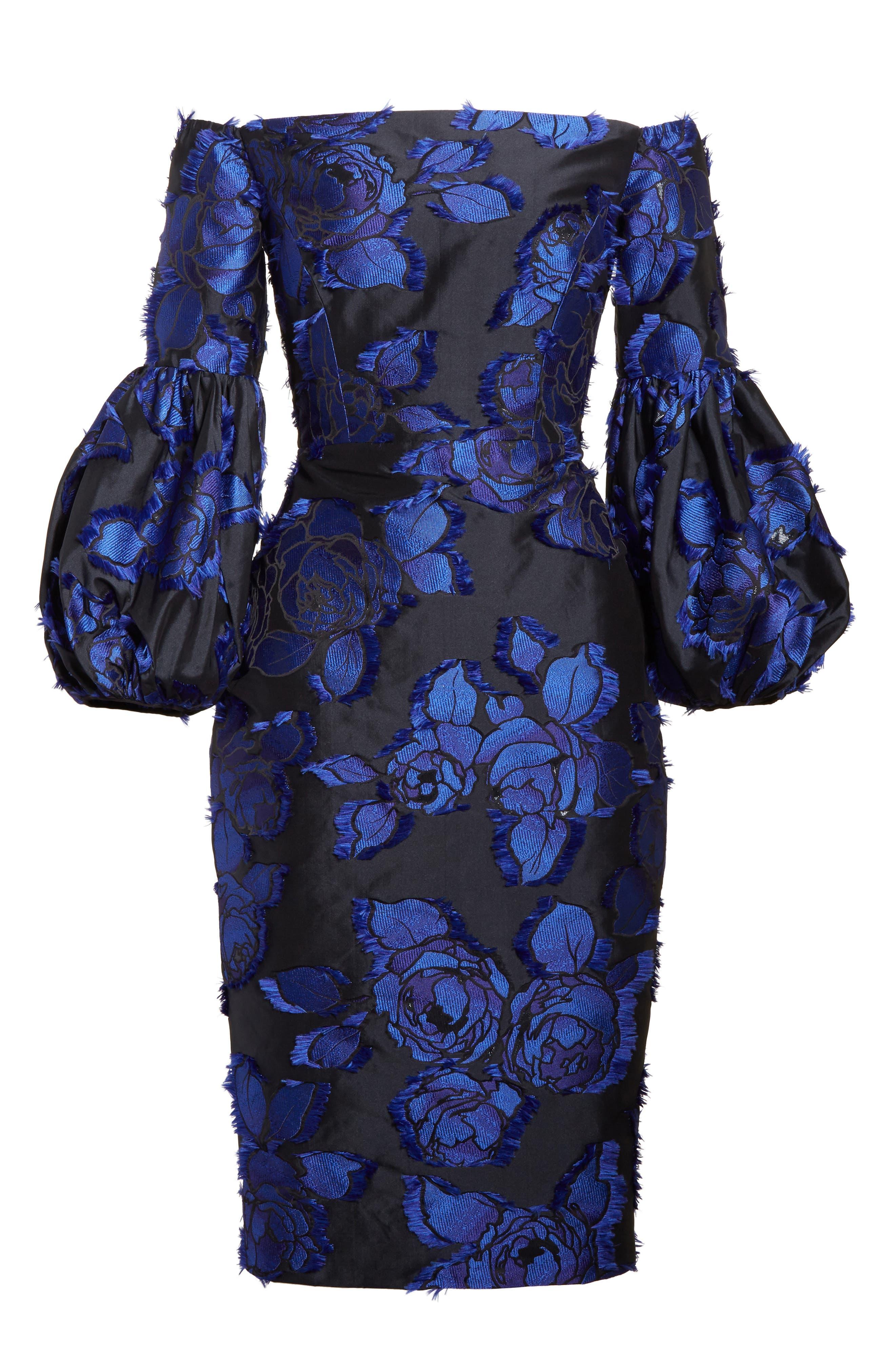 Fring Brocade Puff Sleeve Dress,                             Alternate thumbnail 4, color,                             Black/ Lapis