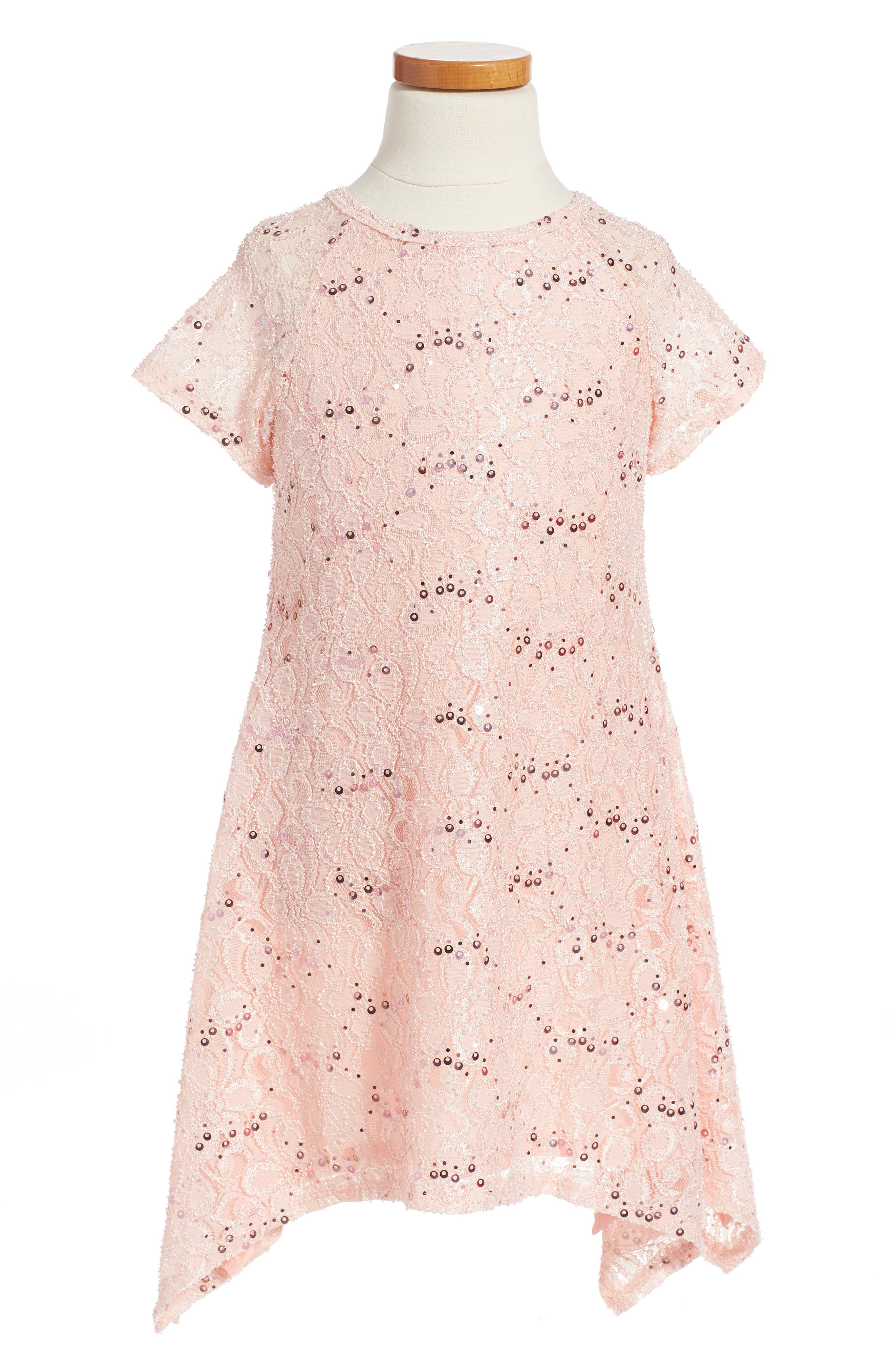 Lace Sequin Dress,                             Main thumbnail 1, color,                             Peachy Pink