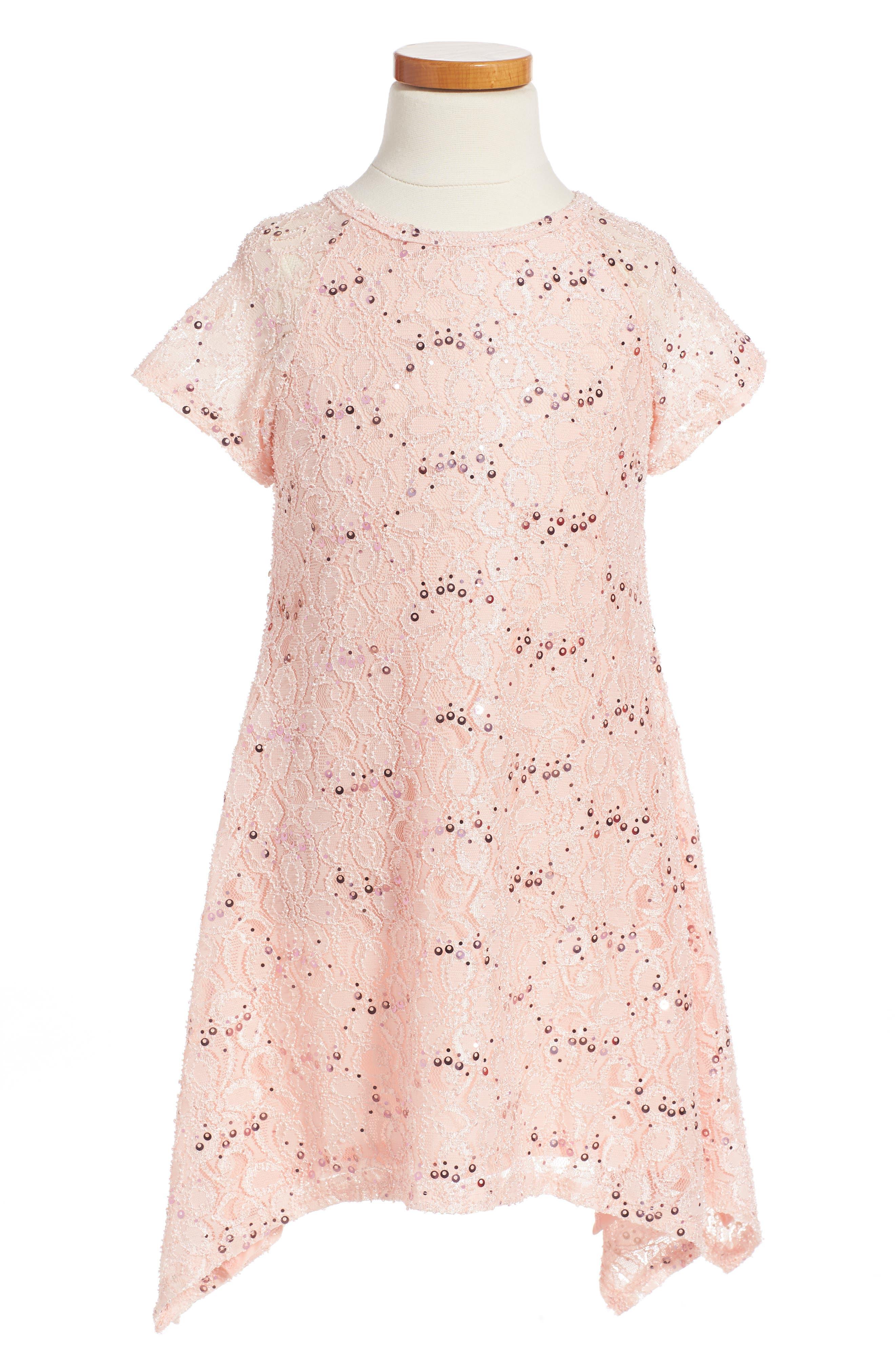 Main Image - Twirls & Twigs Lace Sequin Dress (Toddler Girls, Little Girls & Big Girls)