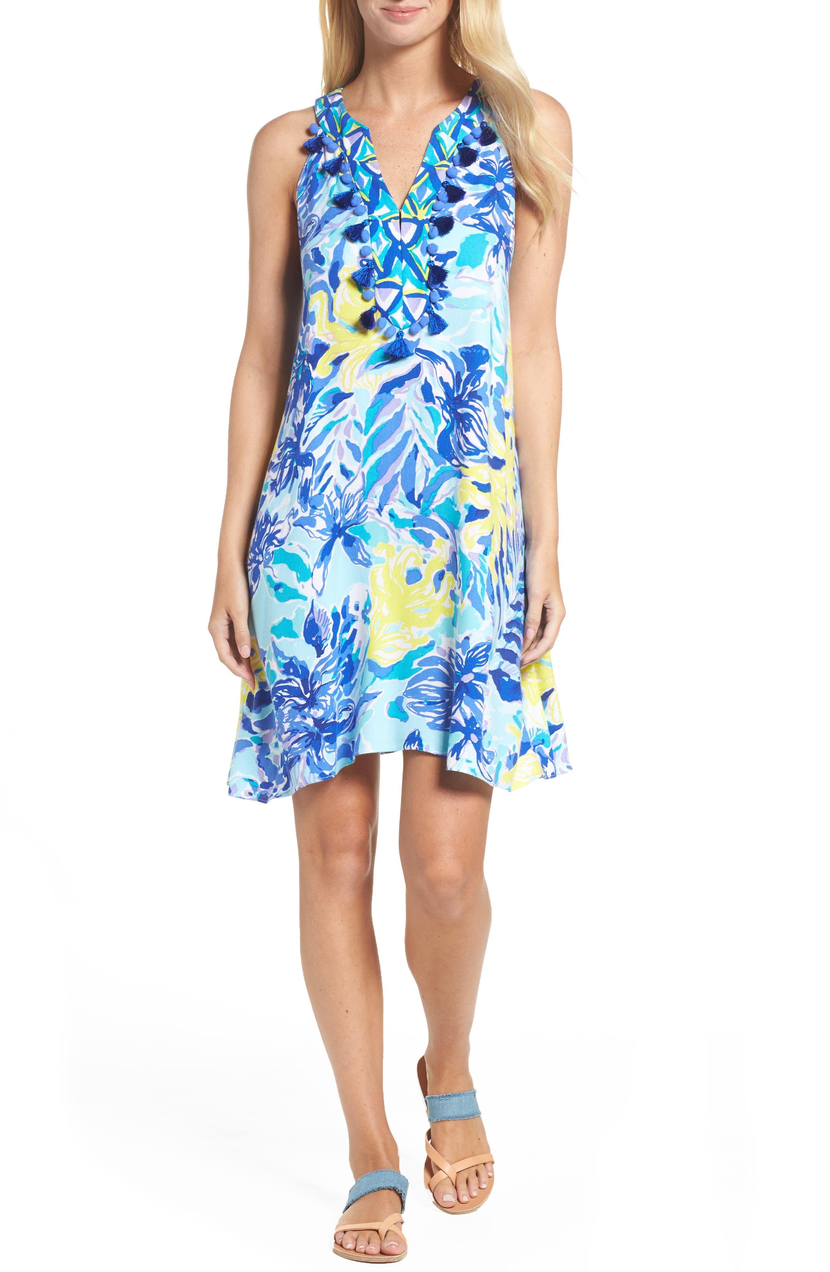 Achelle Trapeze Dress,                         Main,                         color, Indigo