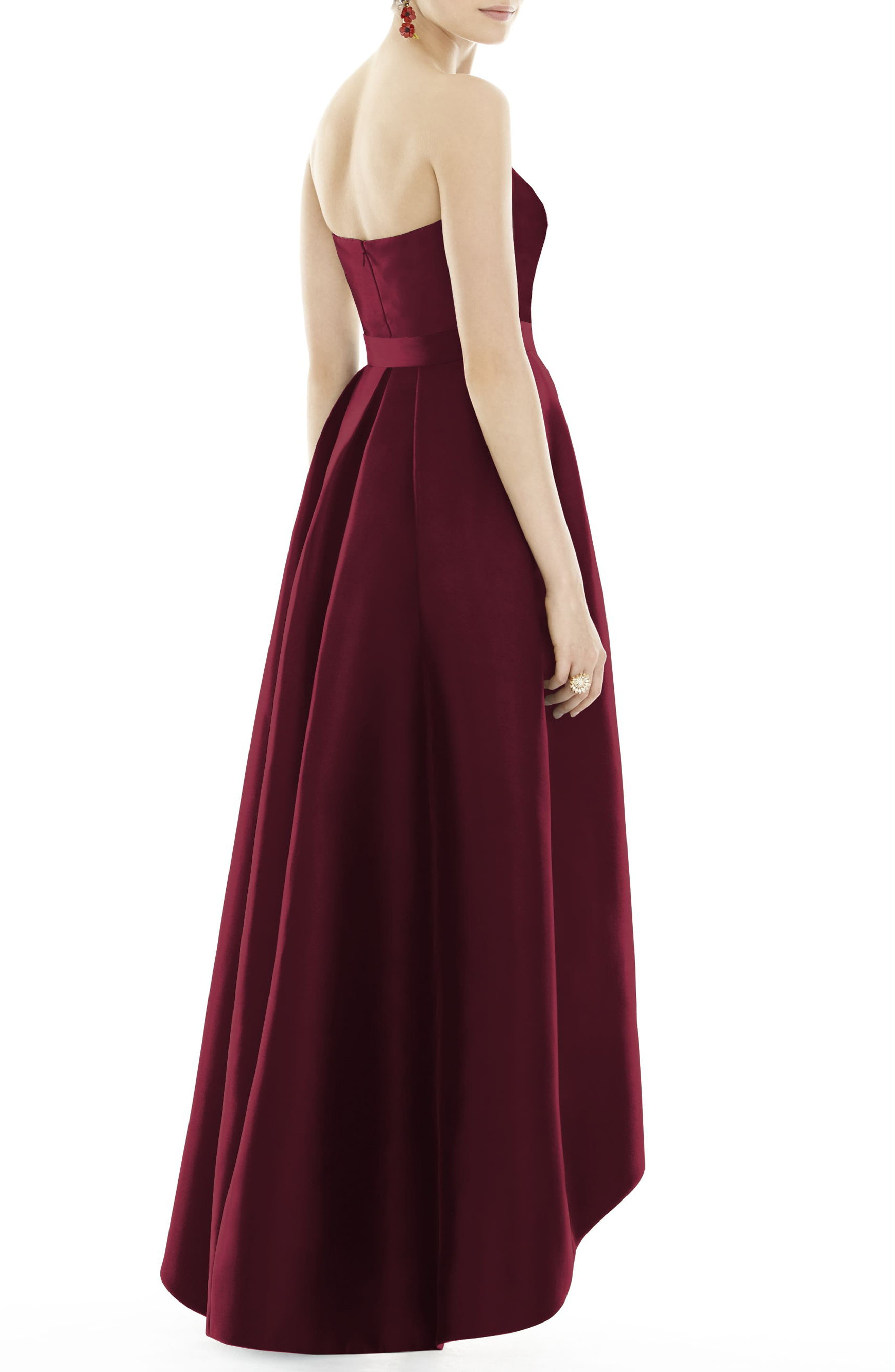 Alternate Image 2  - Alfred Sung Strapless High/Low Sateen Twill Gown