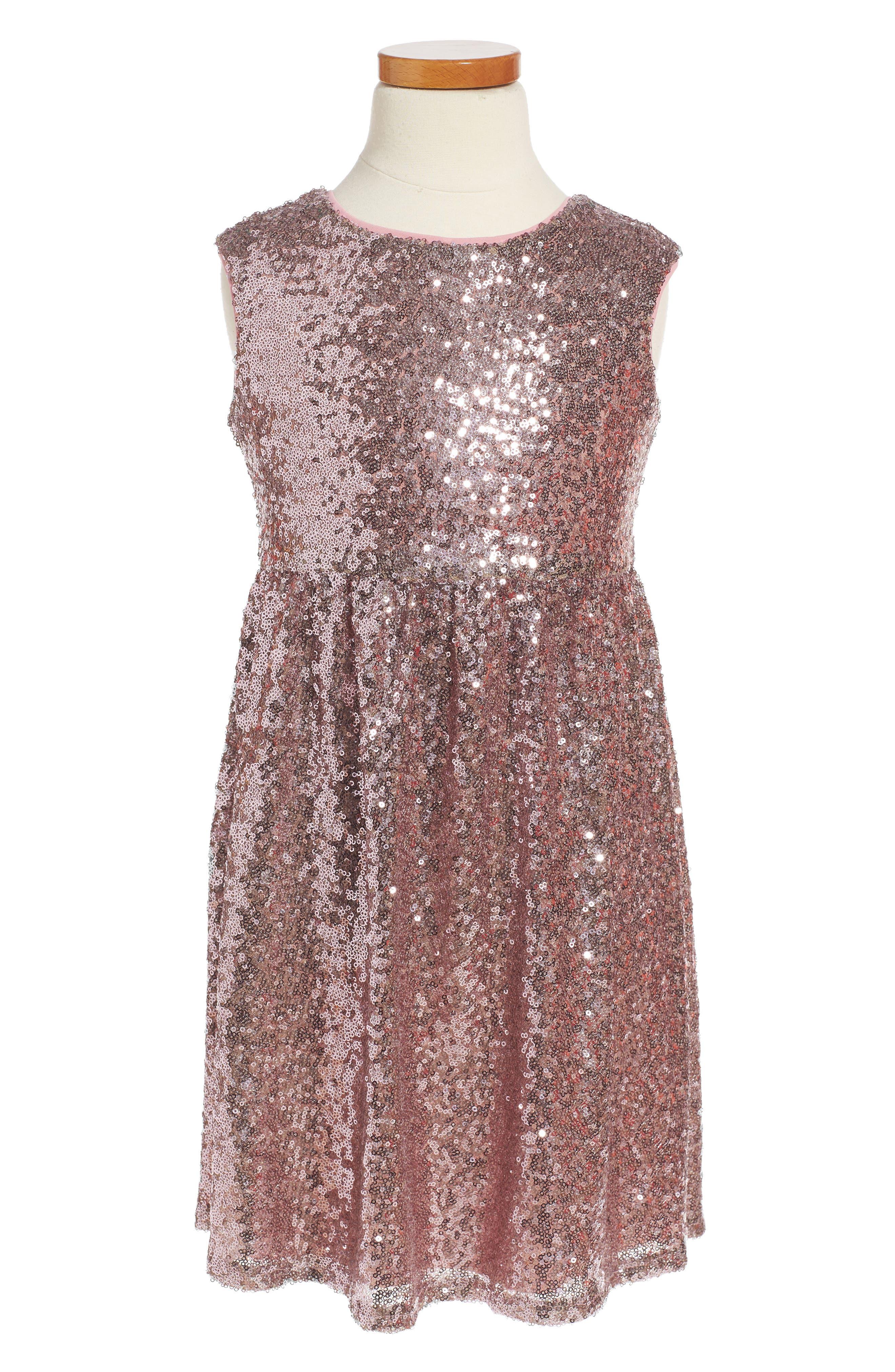 Sequin Dress,                         Main,                         color, Mauve