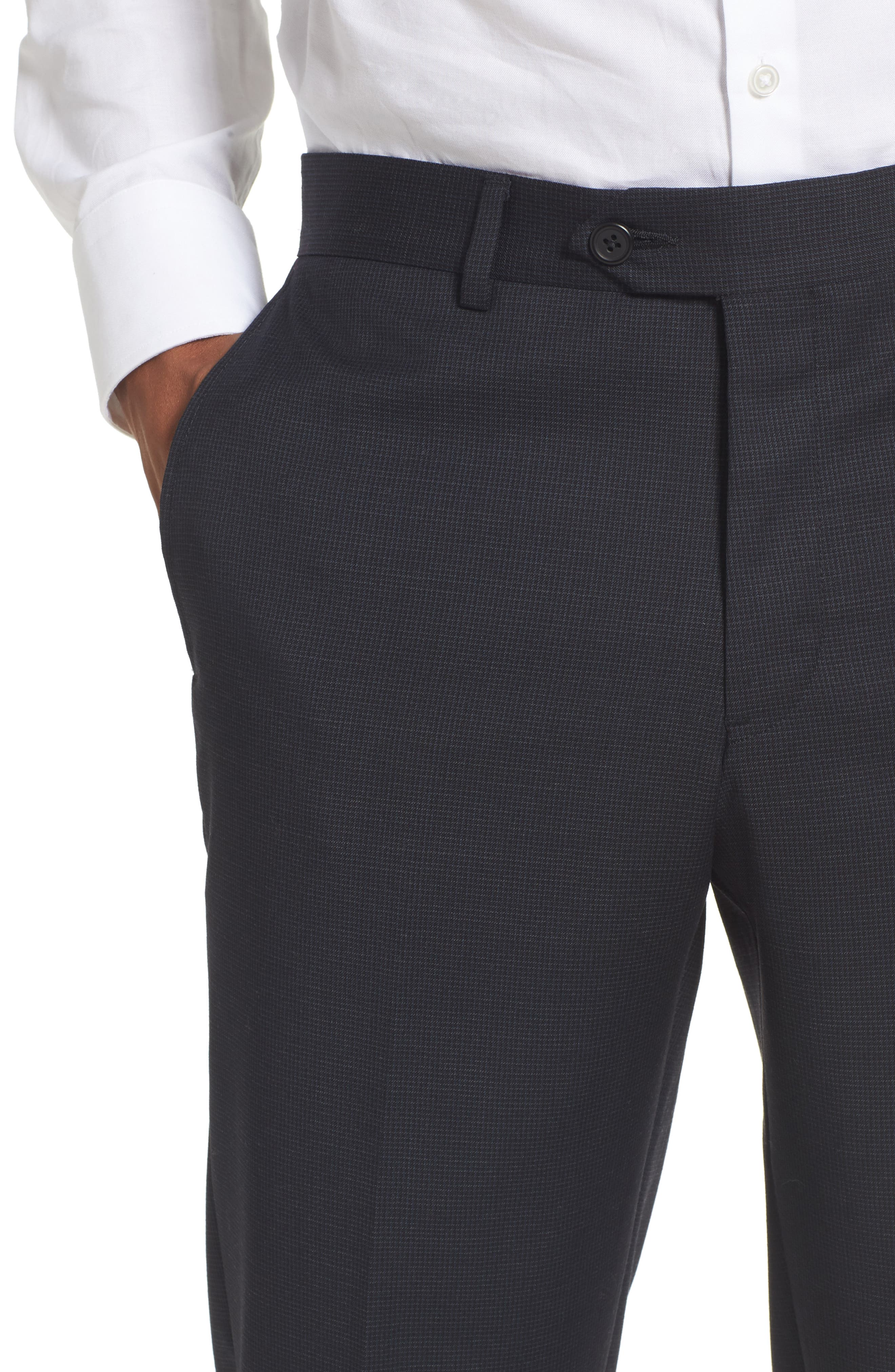 Alternate Image 4  - Nordstrom Men's Shop Flat Front Check Wool Trousers