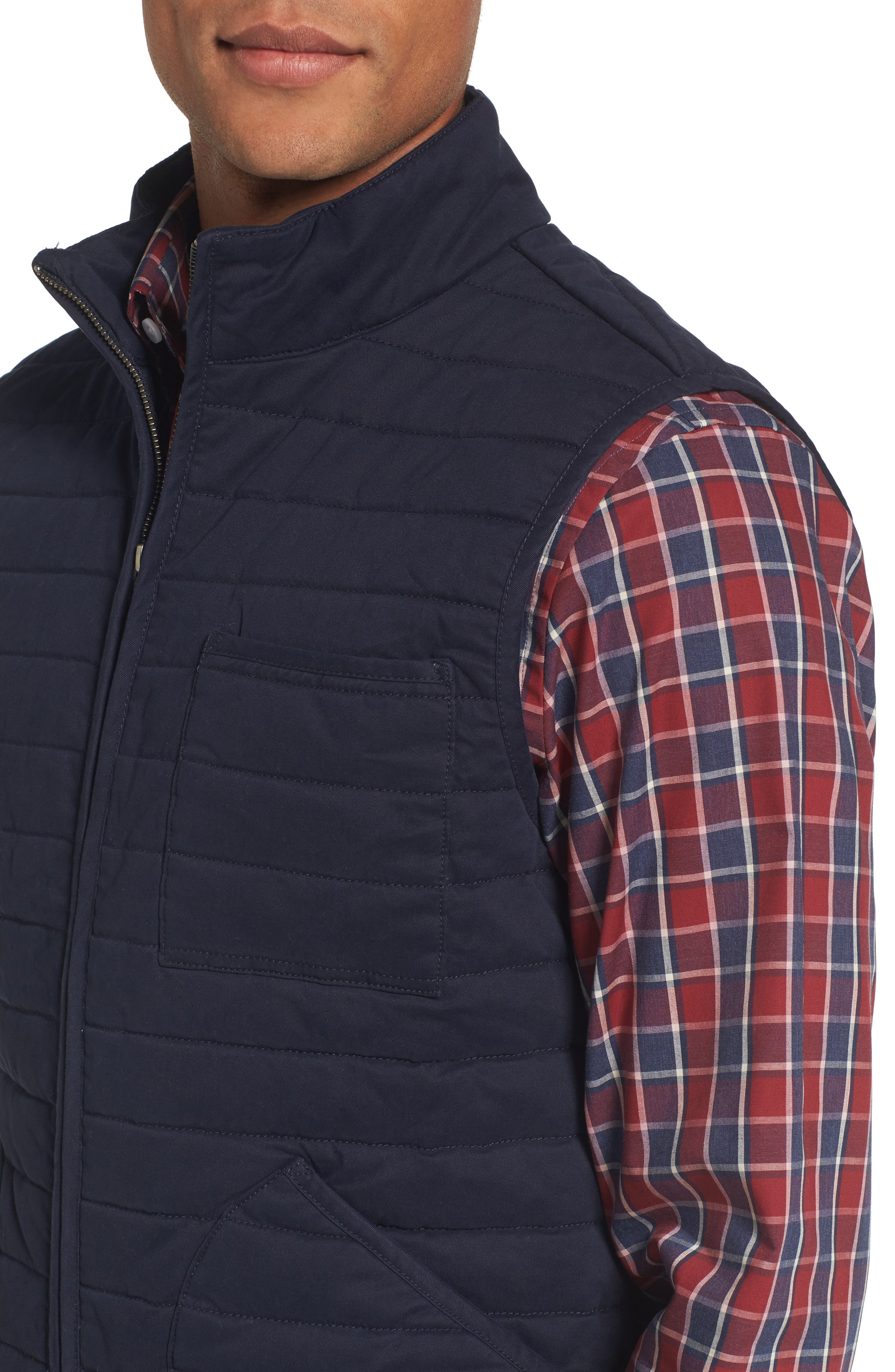 Quilted Twill Vest,                             Alternate thumbnail 4, color,                             Navy Night