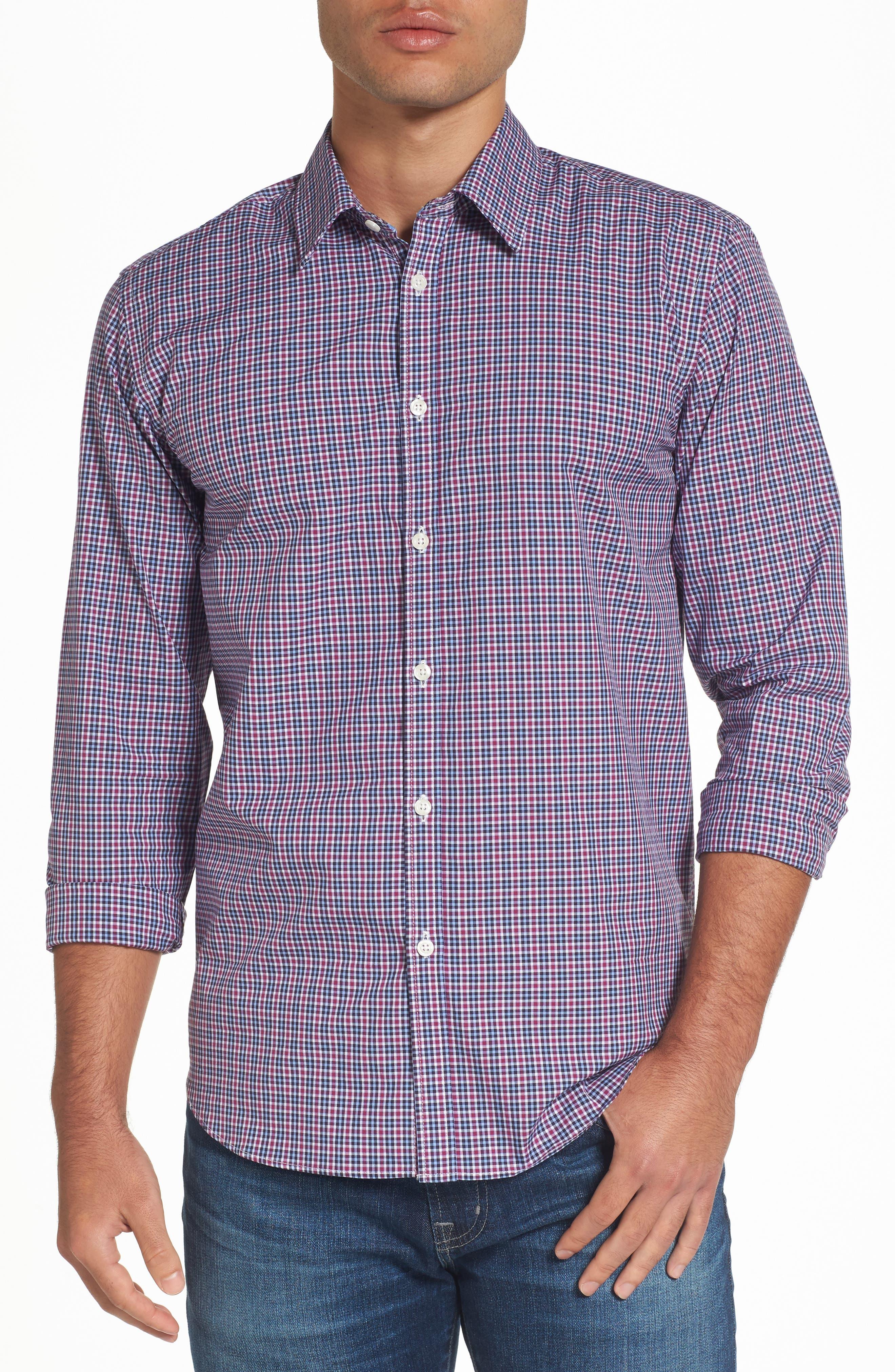 Comfort Fit Plaid Sport Shirt,                         Main,                         color, Medium Purple