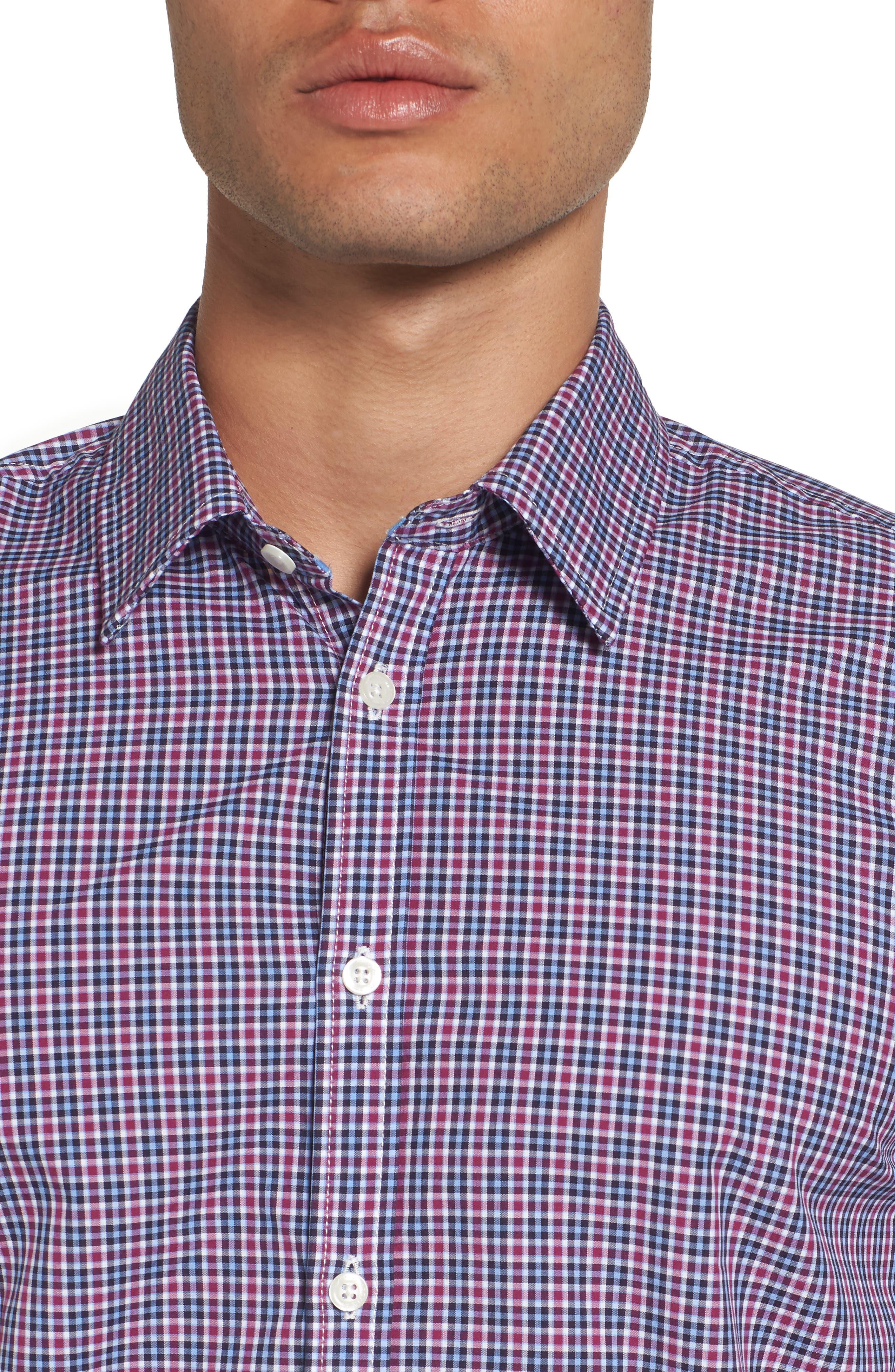 Comfort Fit Plaid Sport Shirt,                             Alternate thumbnail 4, color,                             Medium Purple