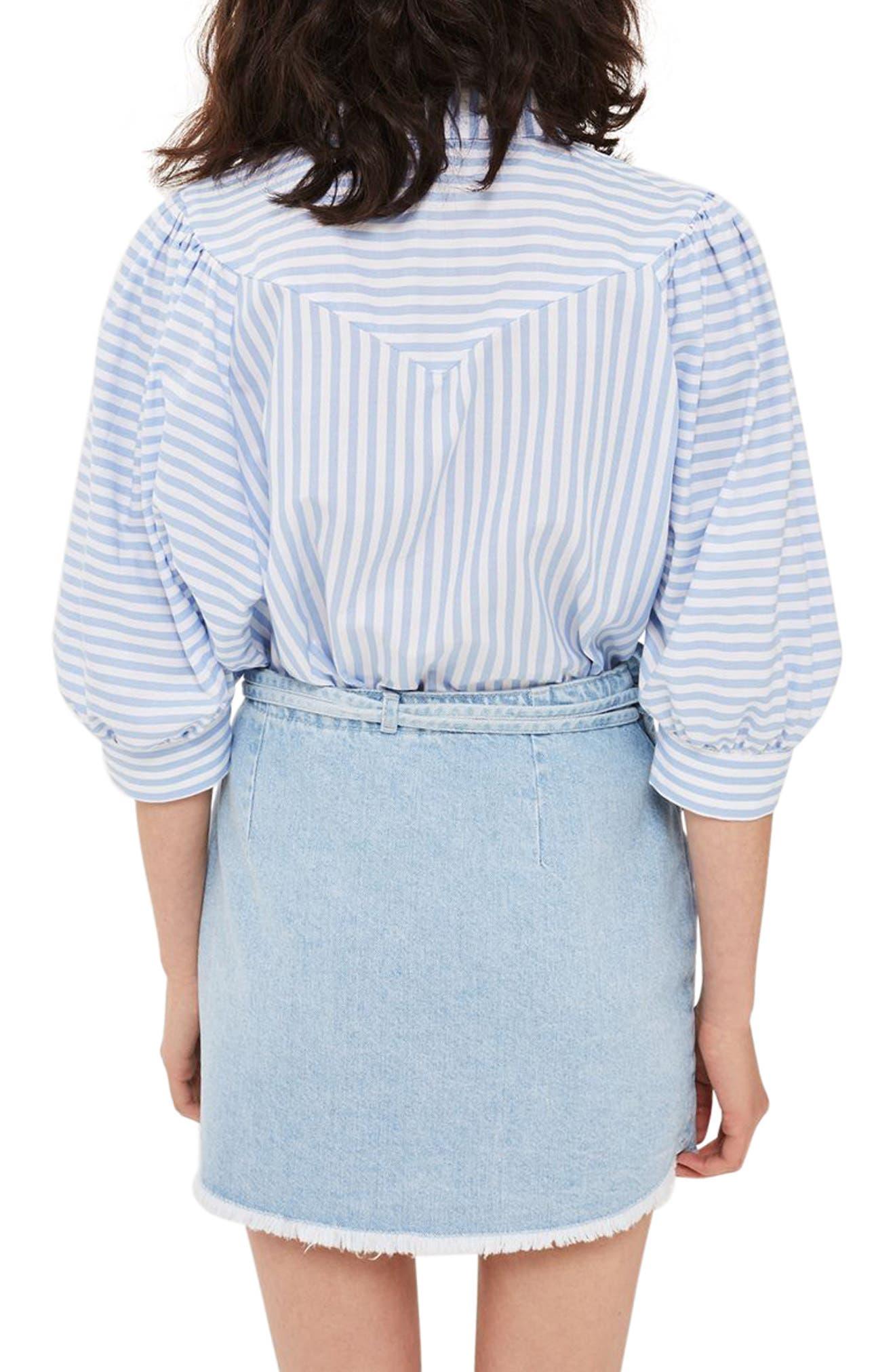 Tie Wrap Denim Skirt,                             Alternate thumbnail 3, color,                             Light Denim