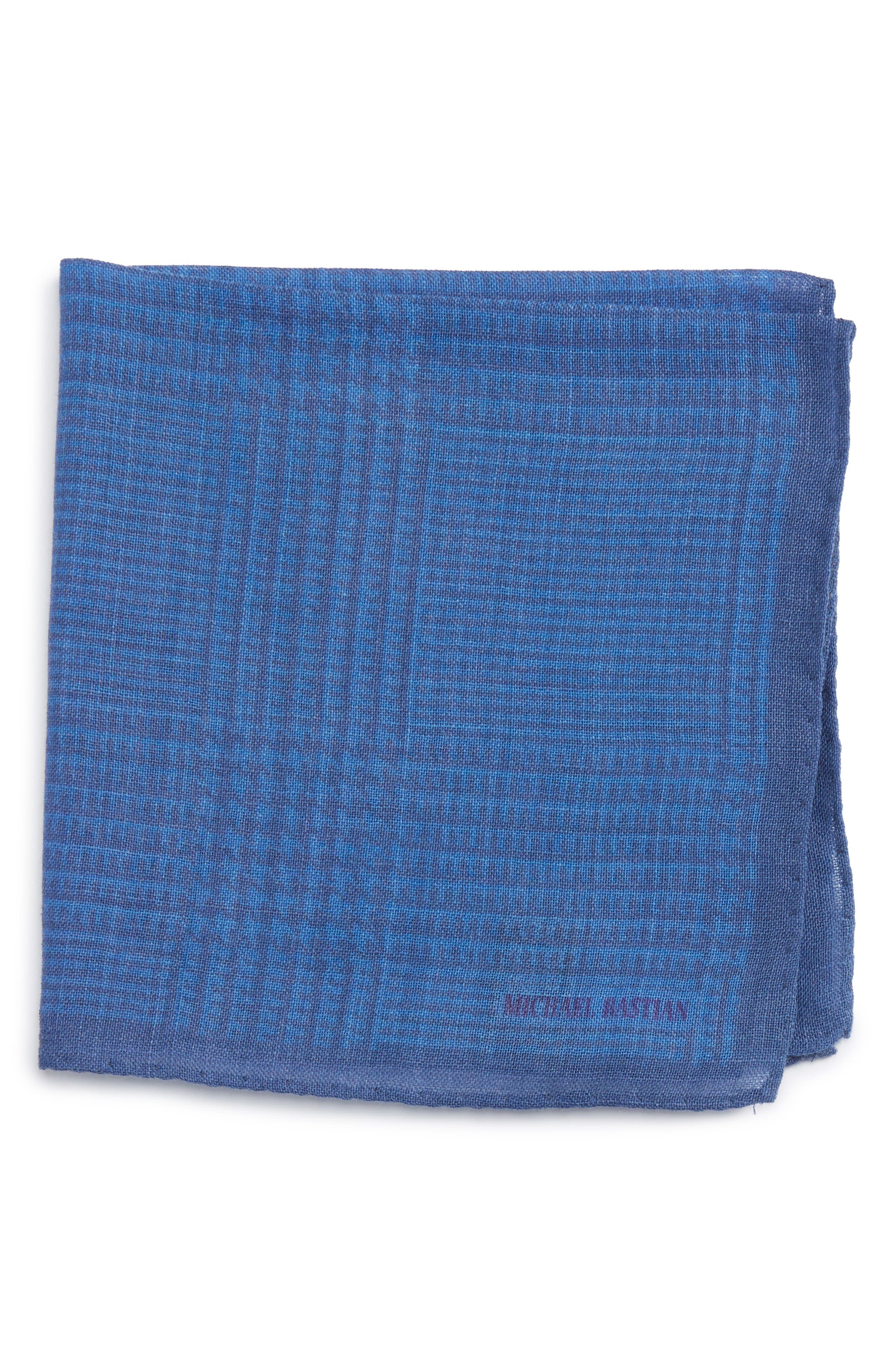Grid Pocket Square,                         Main,                         color, Blue