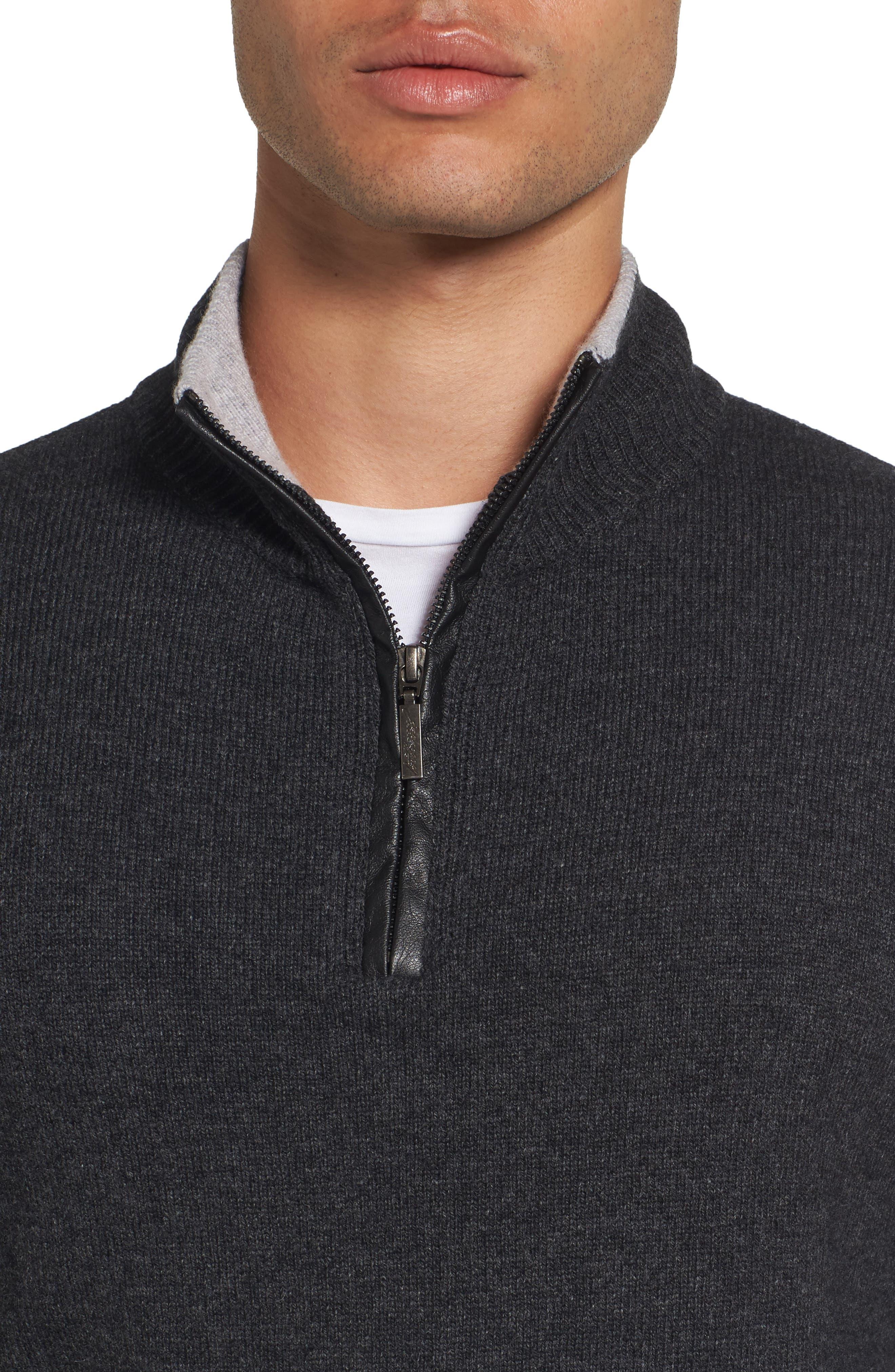 Wool Blend Quarter Zip Sweater,                             Alternate thumbnail 4, color,                             Dark Grey