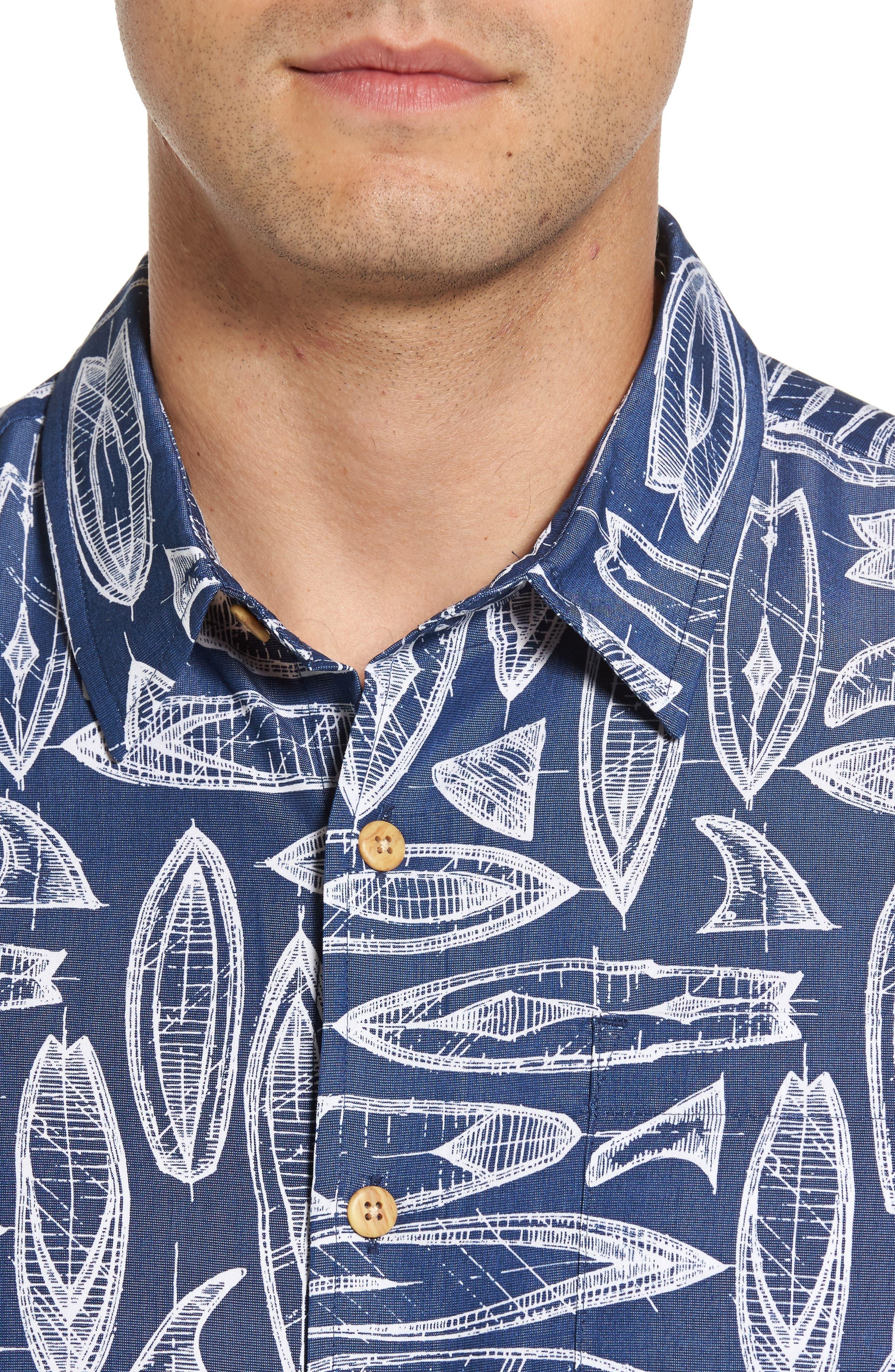 Waveriders Print Camp Shirt,                             Alternate thumbnail 4, color,                             Ocean