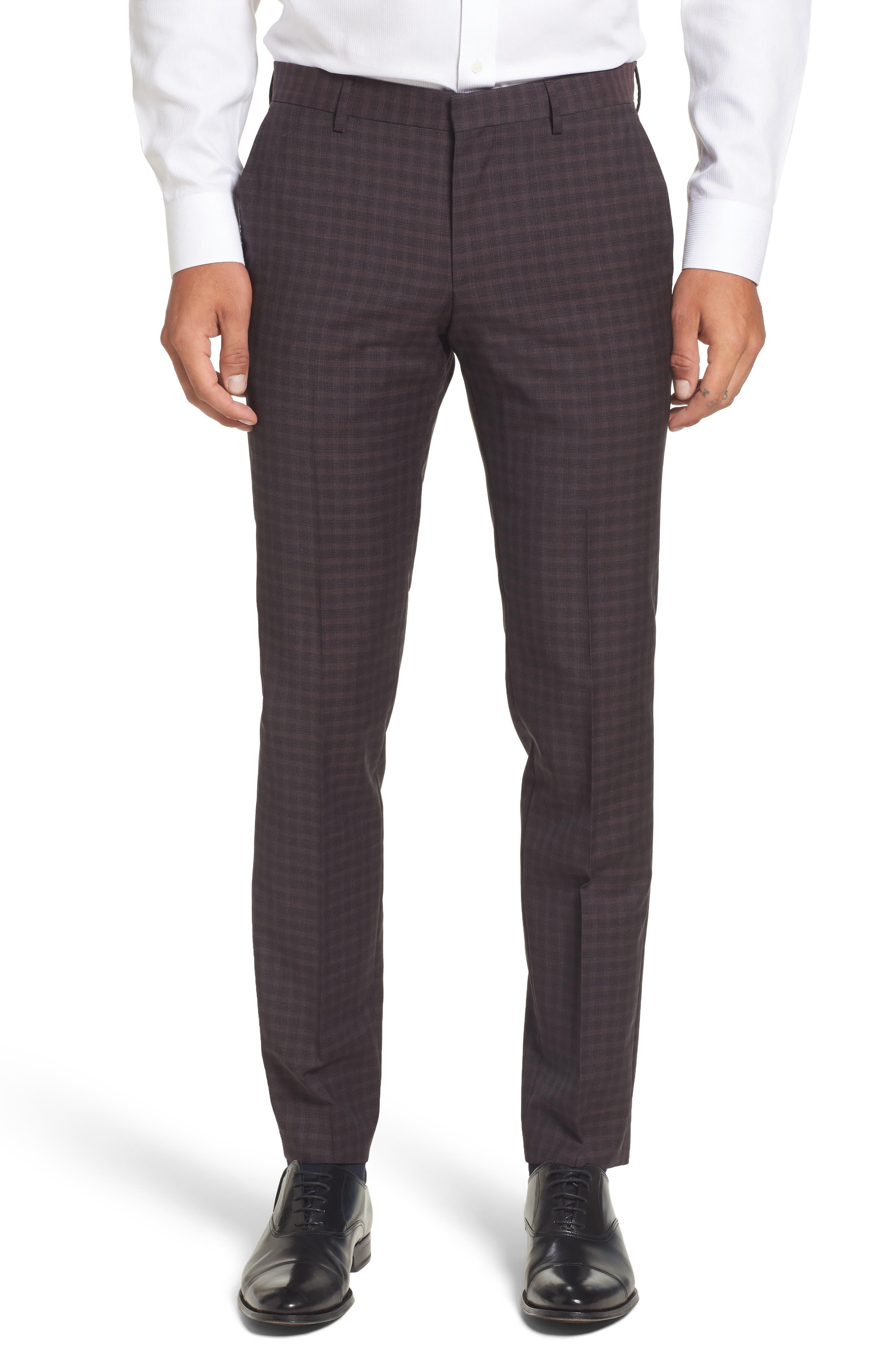 Benso Regular Fit Wool Trousers,                         Main,                         color, Dark Red