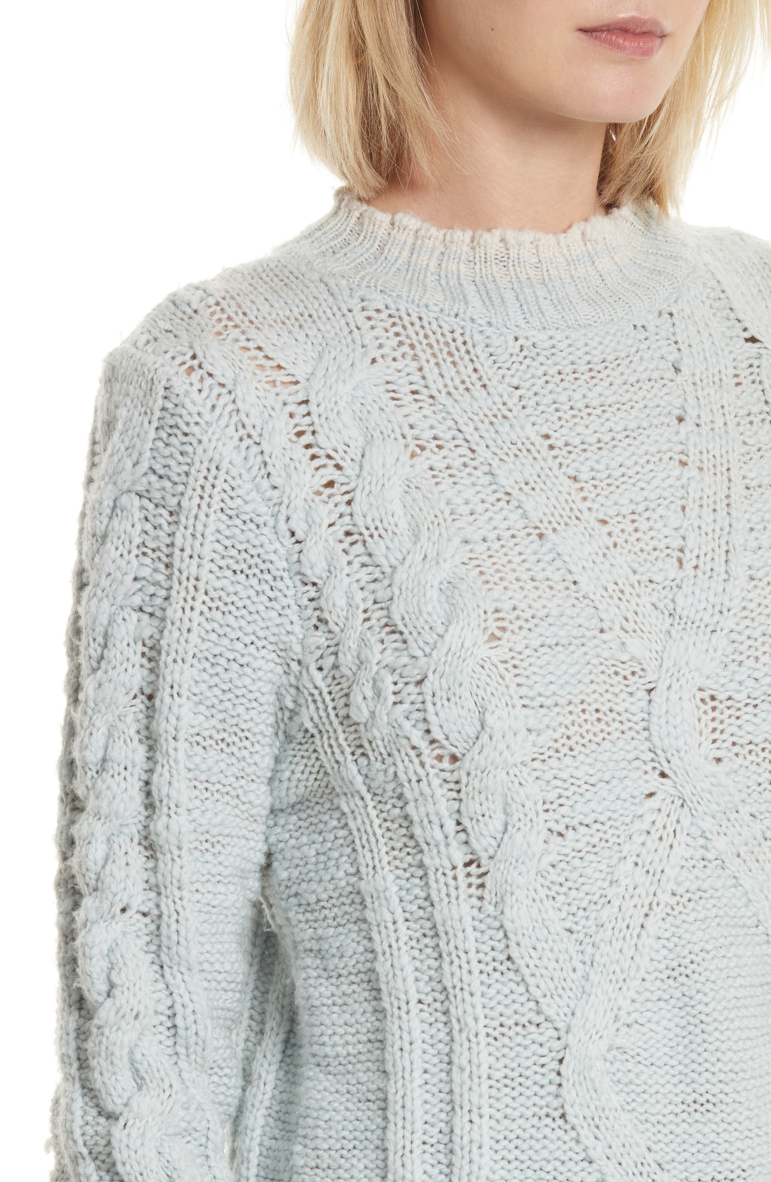 Mock Neck Wool Pullover,                             Alternate thumbnail 4, color,                             Glace