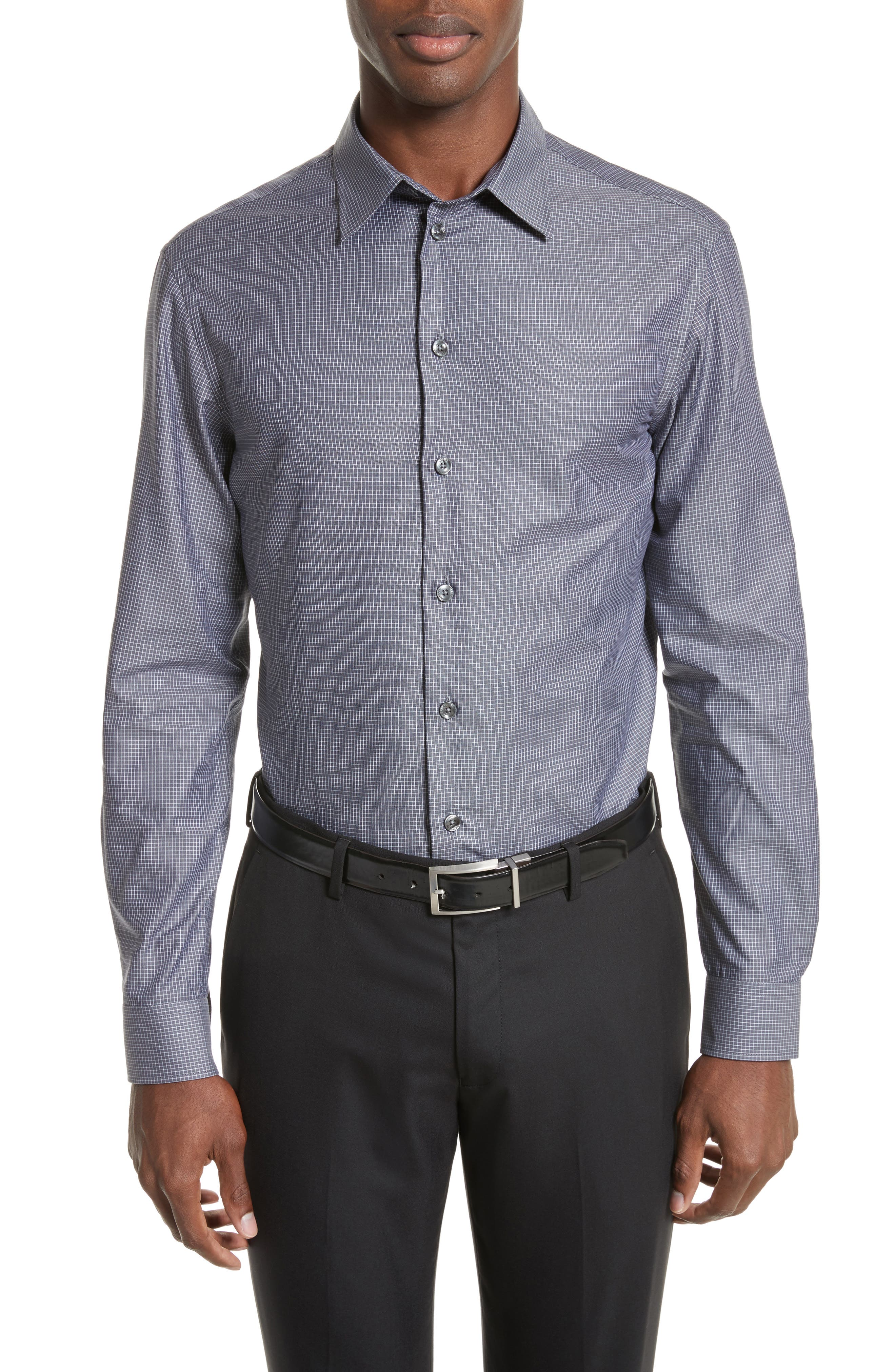 Regular Fit Mini Box Sport Shirt,                             Main thumbnail 1, color,                             Red Rib