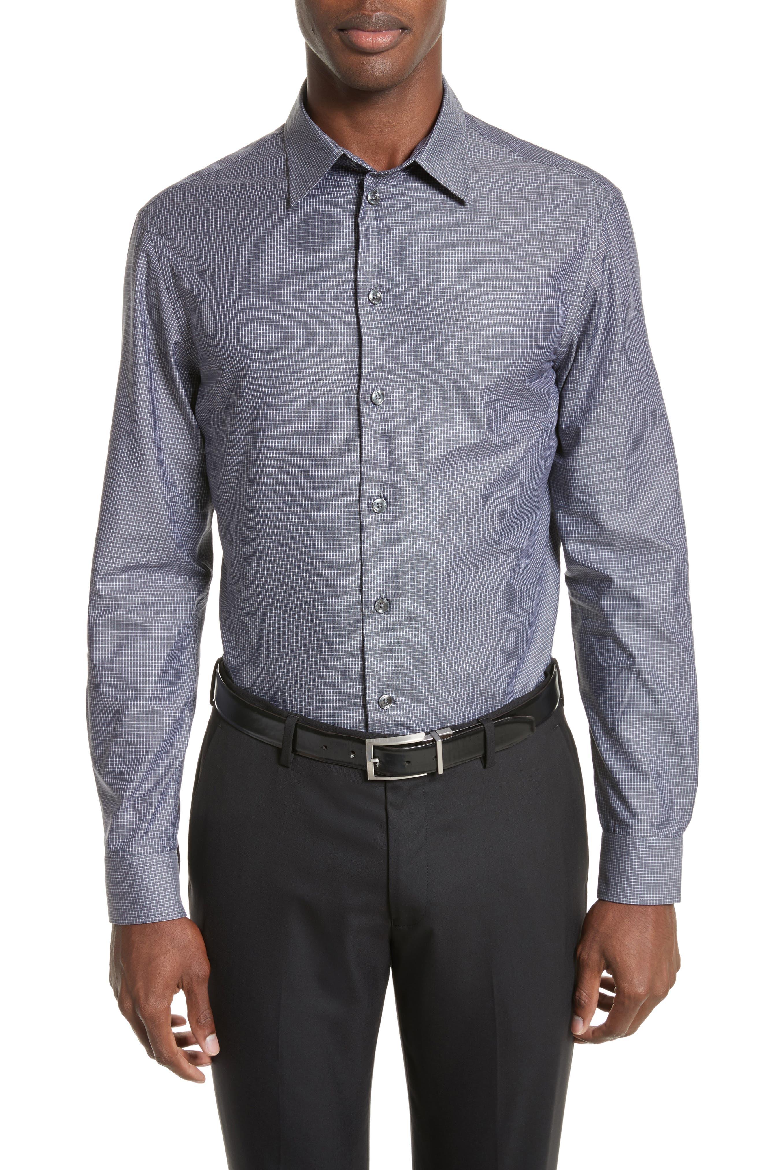 Regular Fit Mini Box Sport Shirt,                         Main,                         color, Red Rib