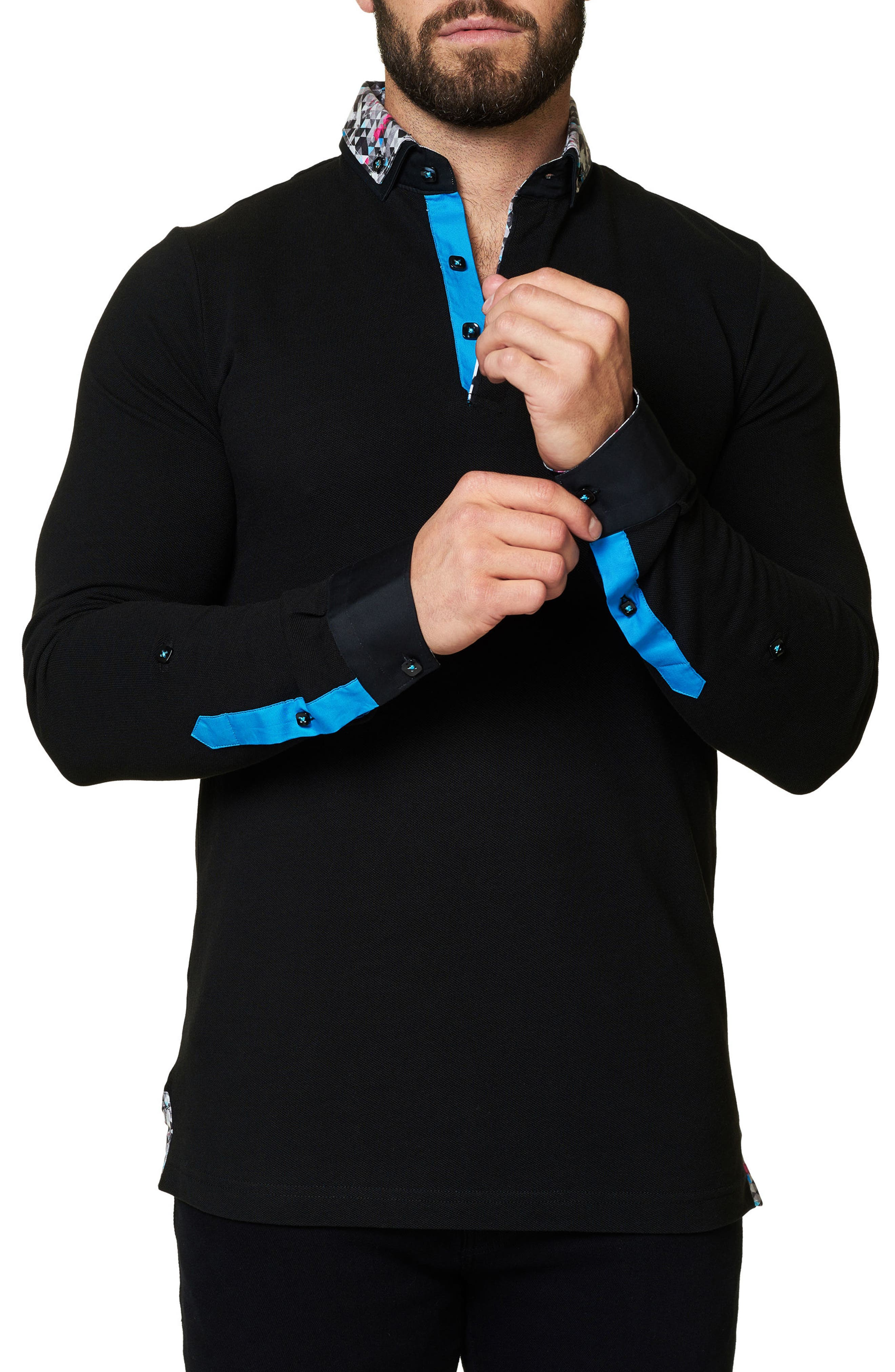 Alternate Image 3  - Maceoo Slim Fit Woven Trim Long Sleeve Polo