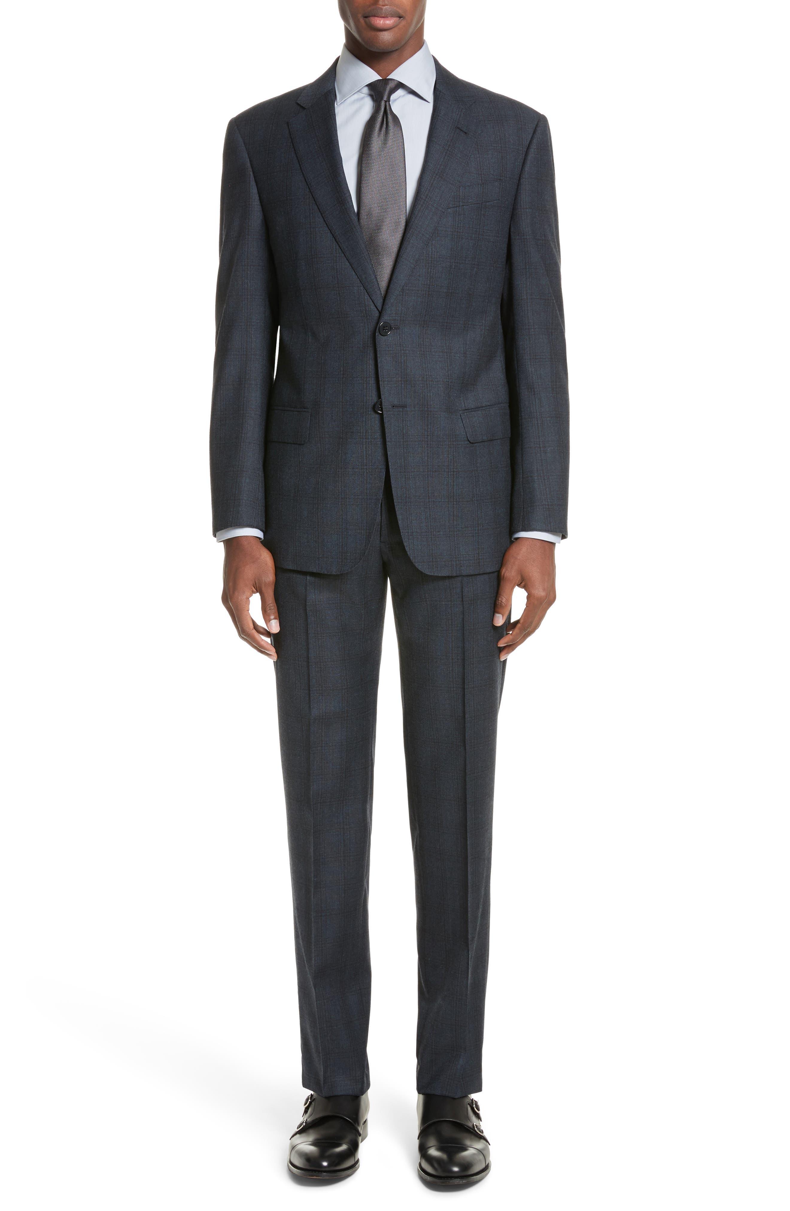 G-Line Trim Fit Plaid Wool Suit,                             Main thumbnail 1, color,                             Navy